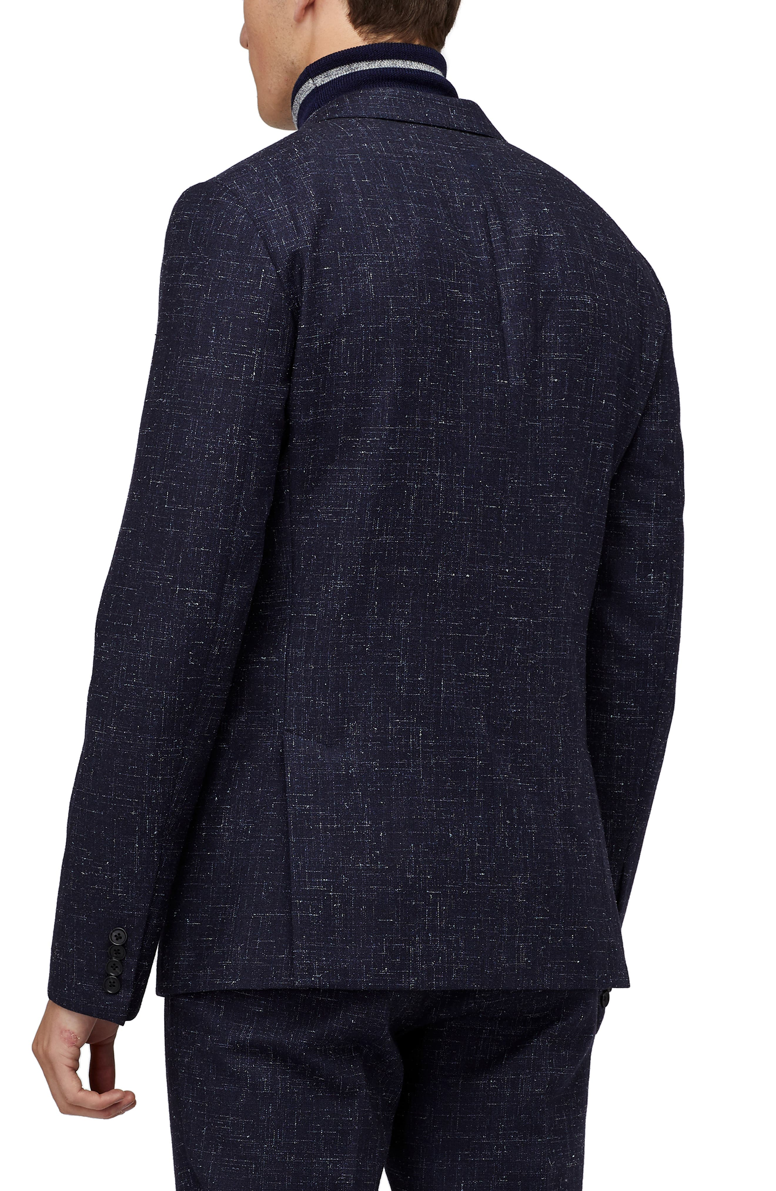 Jetsetter Crosshatch Wool Blend Blazer,                             Alternate thumbnail 2, color,                             NAVY CROSS HATCH