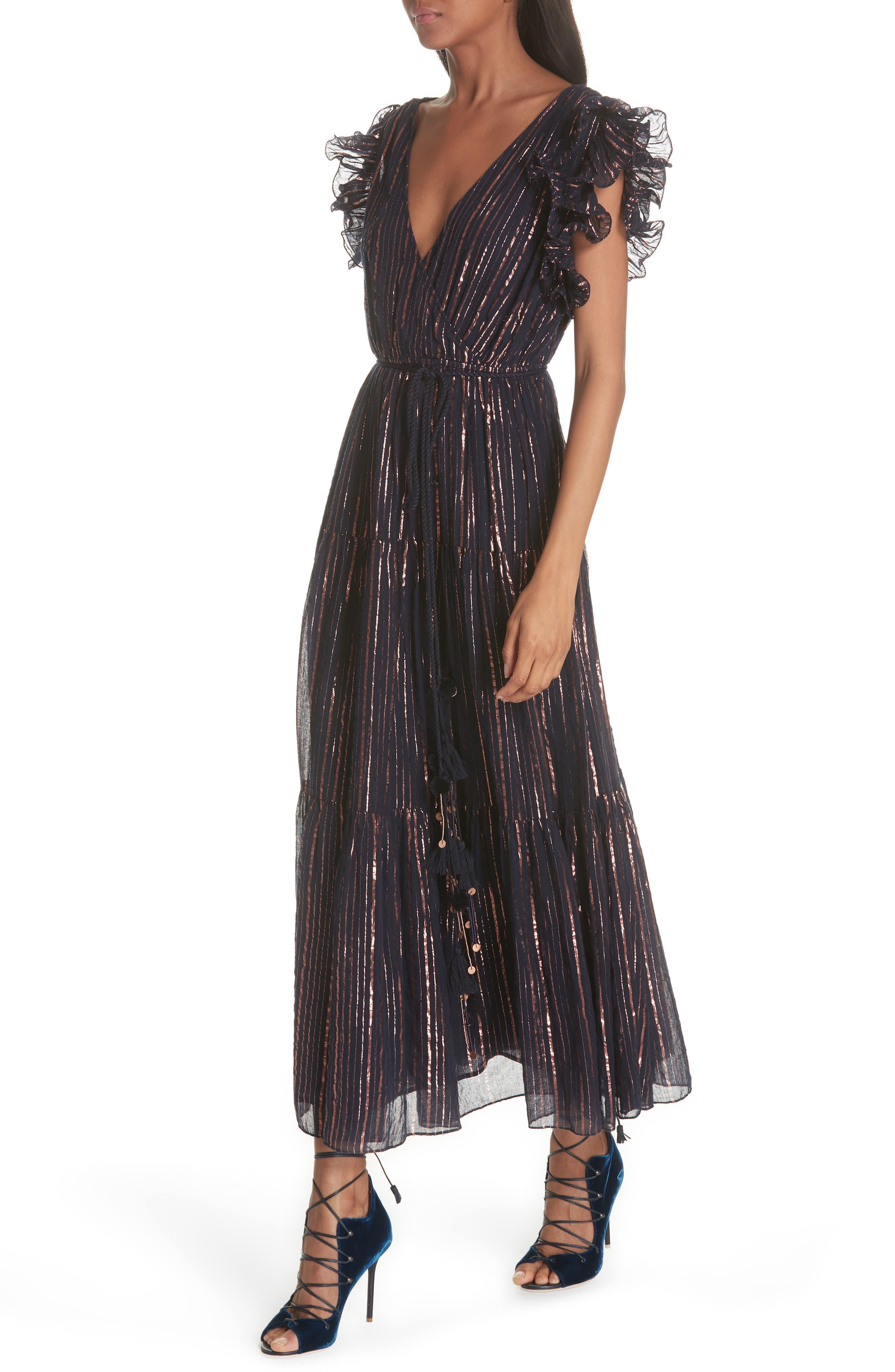 ULLA JOHNSON,                             Liliana Metallic Stripe Dress,                             Alternate thumbnail 4, color,                             400