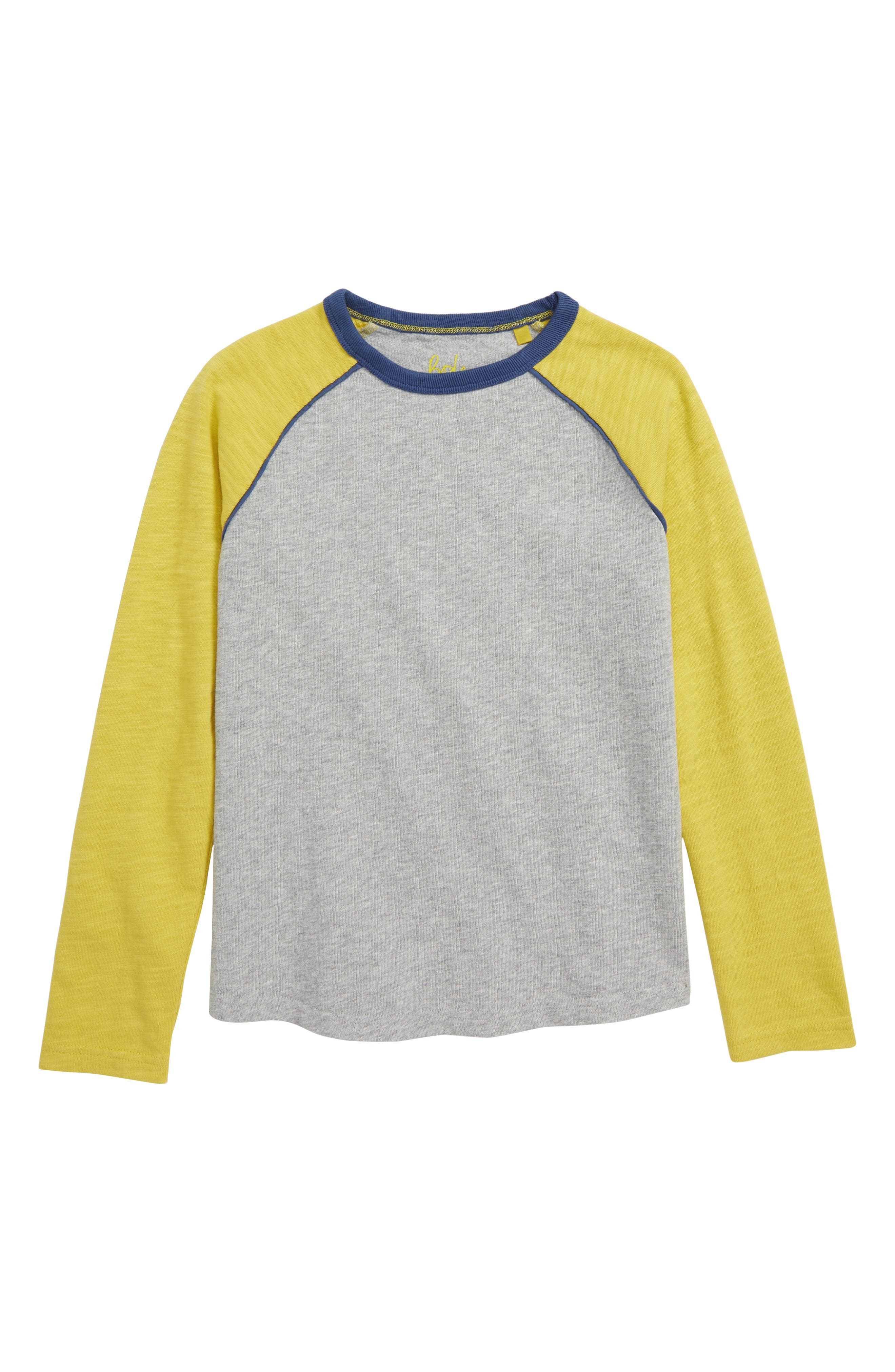 Raglan T-Shirt, Main, color, GREY MARL/ CELERY YELLOW