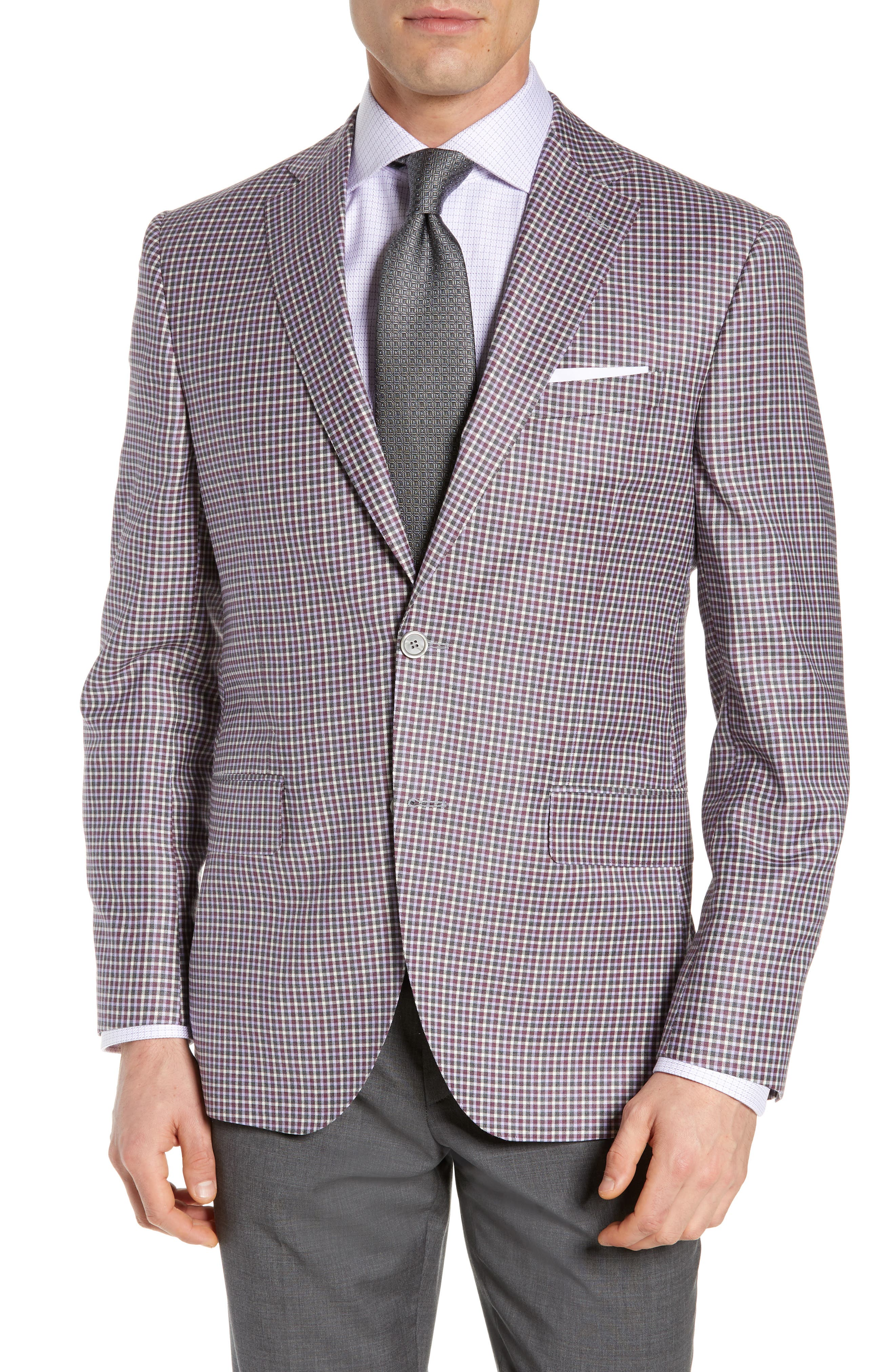 Connor Classic Fit Check Wool Sport Coat, Main, color, BERRY