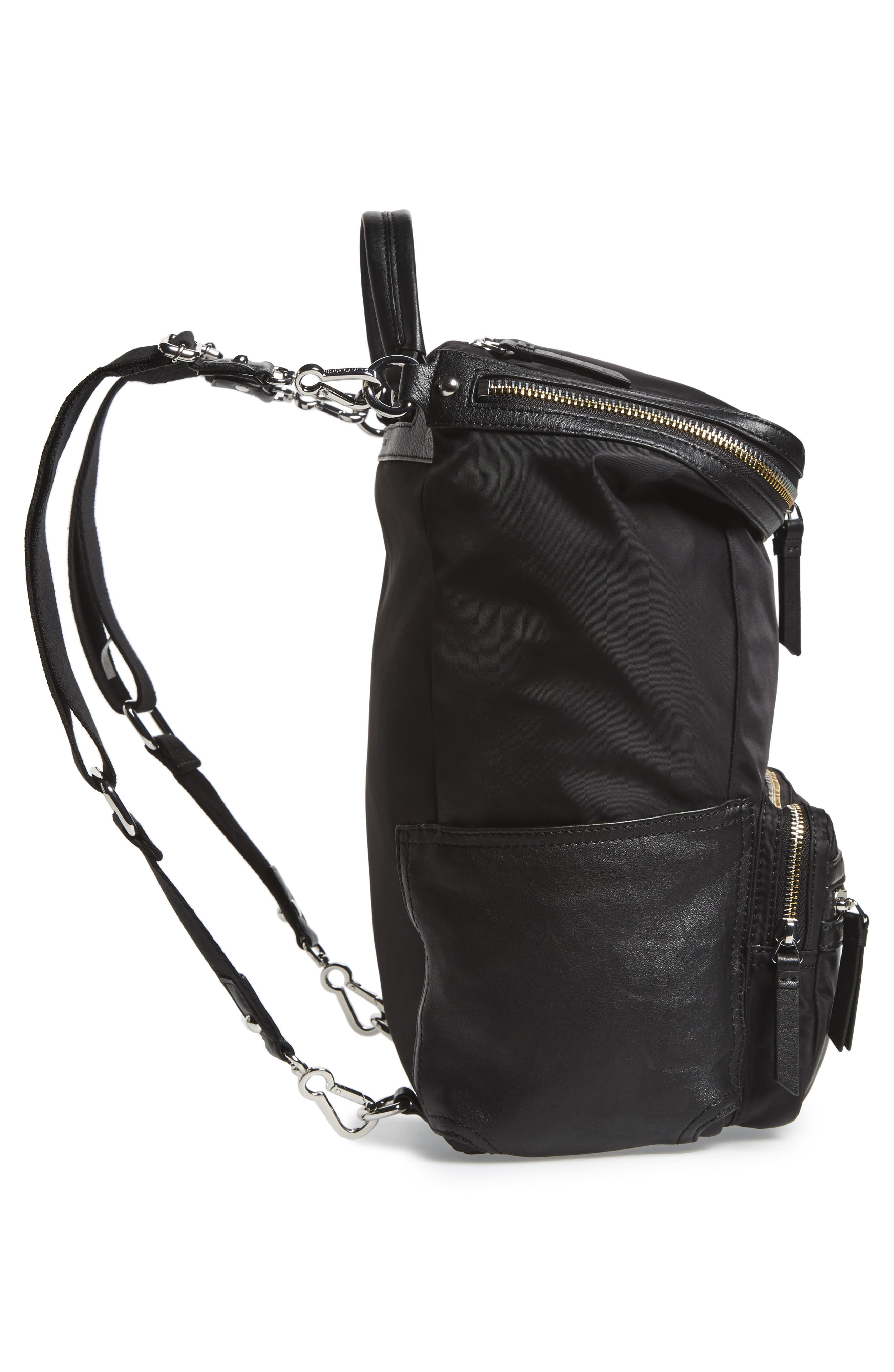 Patch NYL Leather & Nylon Backpack,                             Alternate thumbnail 6, color,                             002