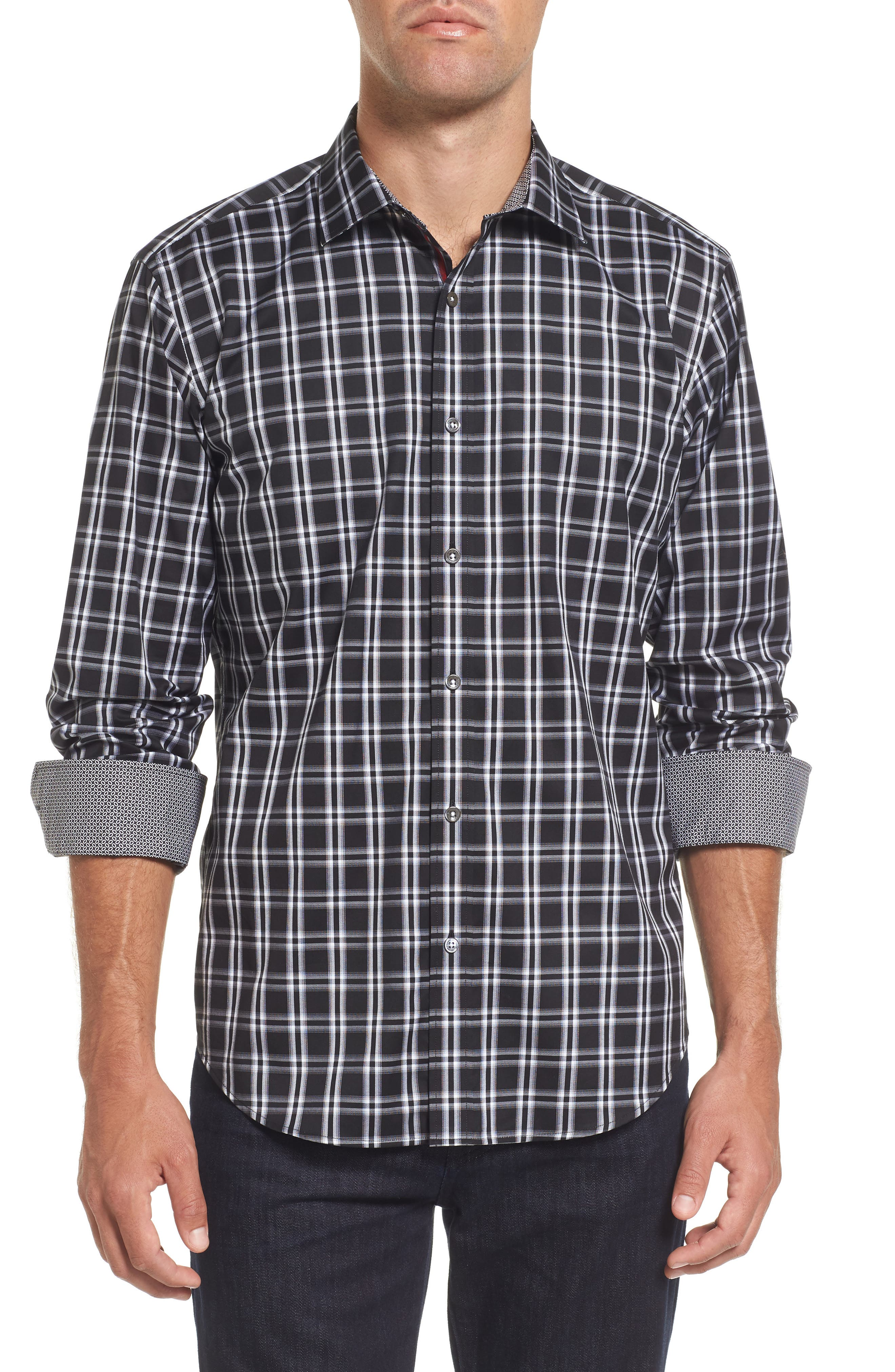 Slim Fit Check Sport Shirt,                             Main thumbnail 1, color,                             001