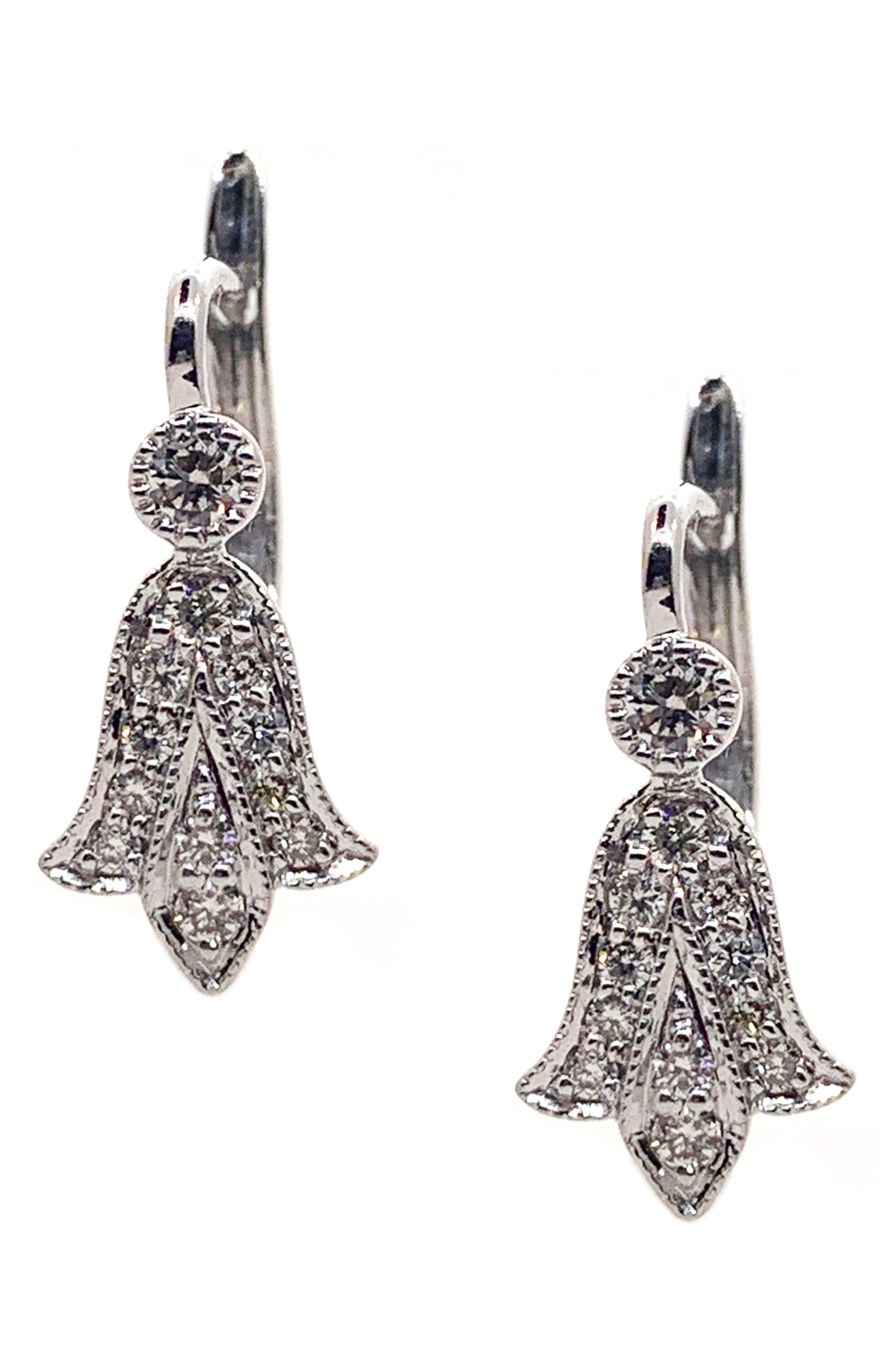 SETHI COUTURE Fleur De Lis Diamond Drop Earrings in White Gold/ Diamond