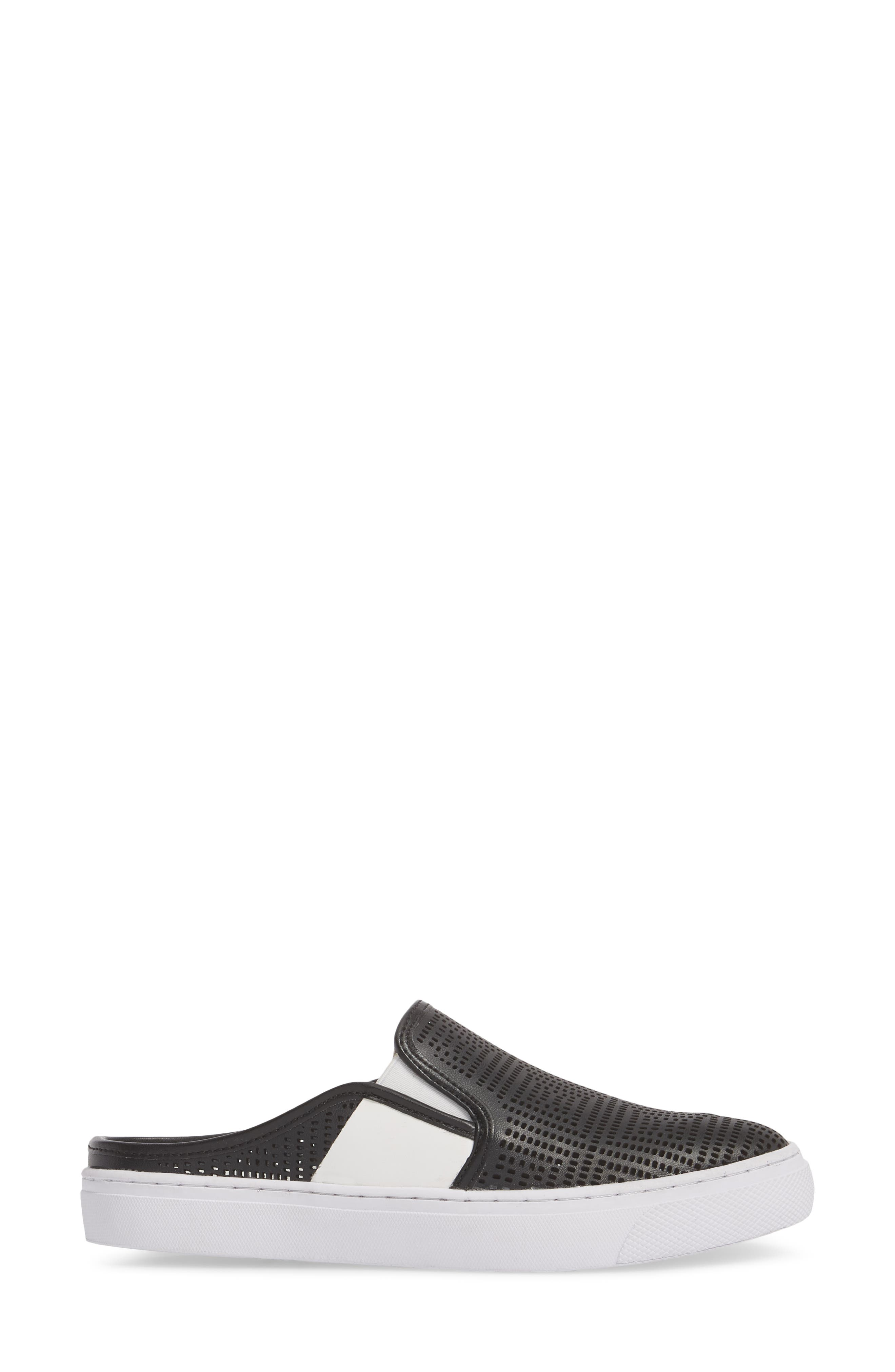 Perforated Backless Sneaker,                             Alternate thumbnail 3, color,                             BLACK LEATHER