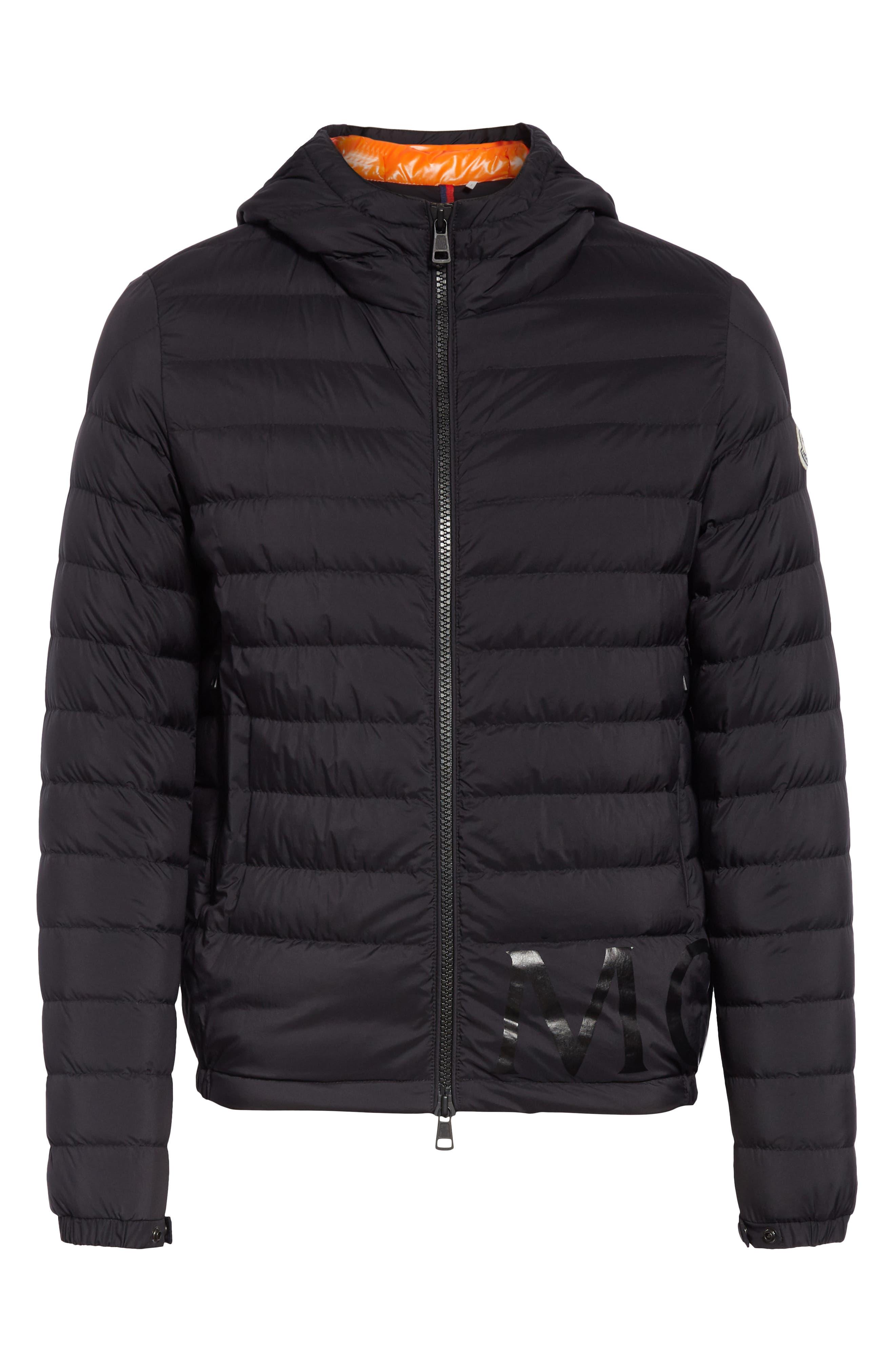 MONCLER,                             Dreux Hooded Down Jacket,                             Alternate thumbnail 5, color,                             BLACK