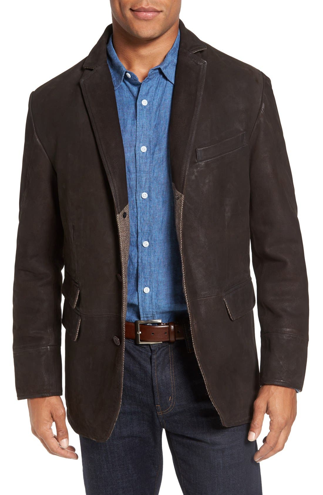 Distressed Leather Hybrid Coat,                             Alternate thumbnail 10, color,                             CHOCOLATE BROWN