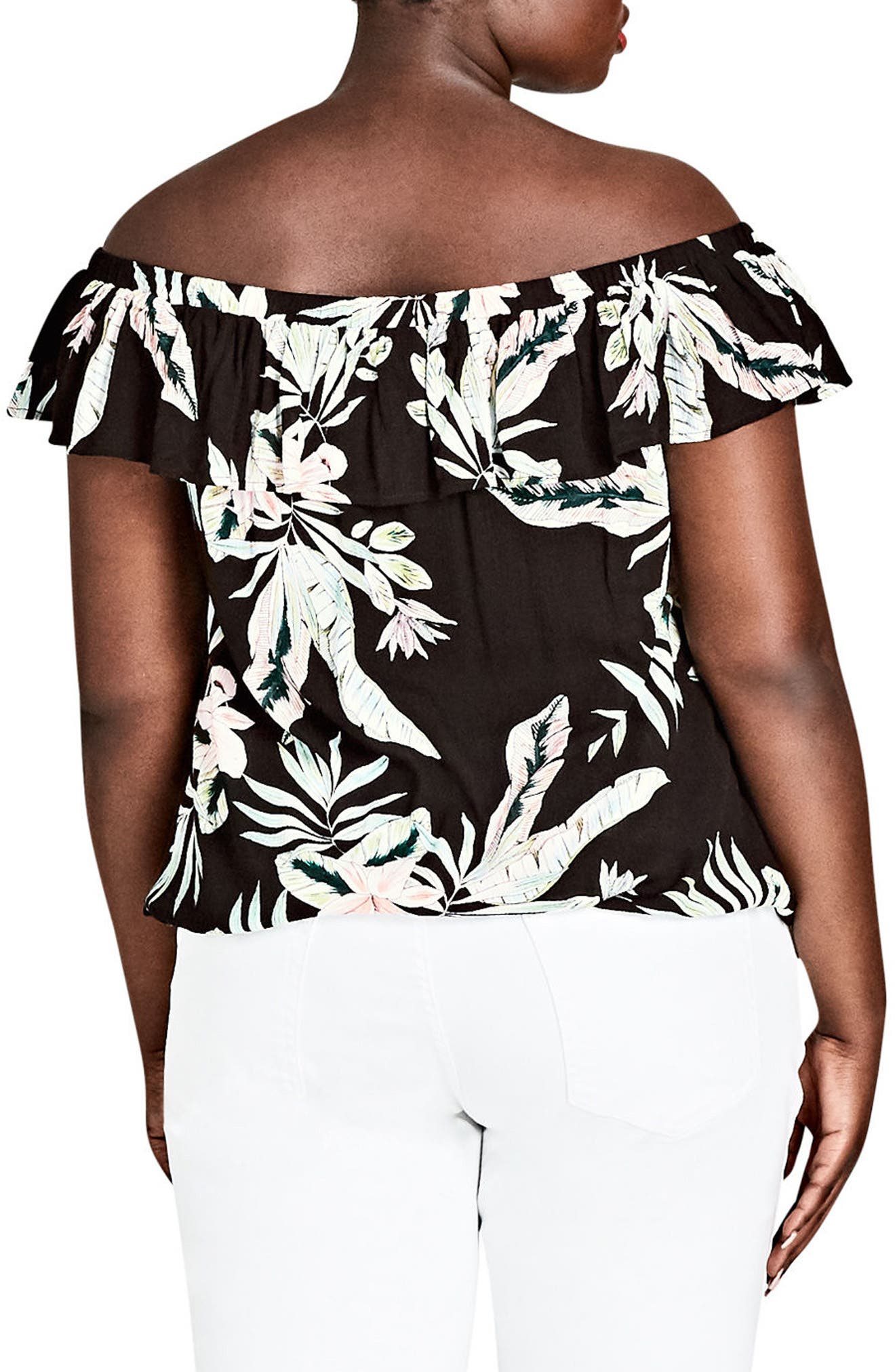 CITY CHIC,                             Oahu Orchid Off the Shoulder Top,                             Alternate thumbnail 2, color,                             011