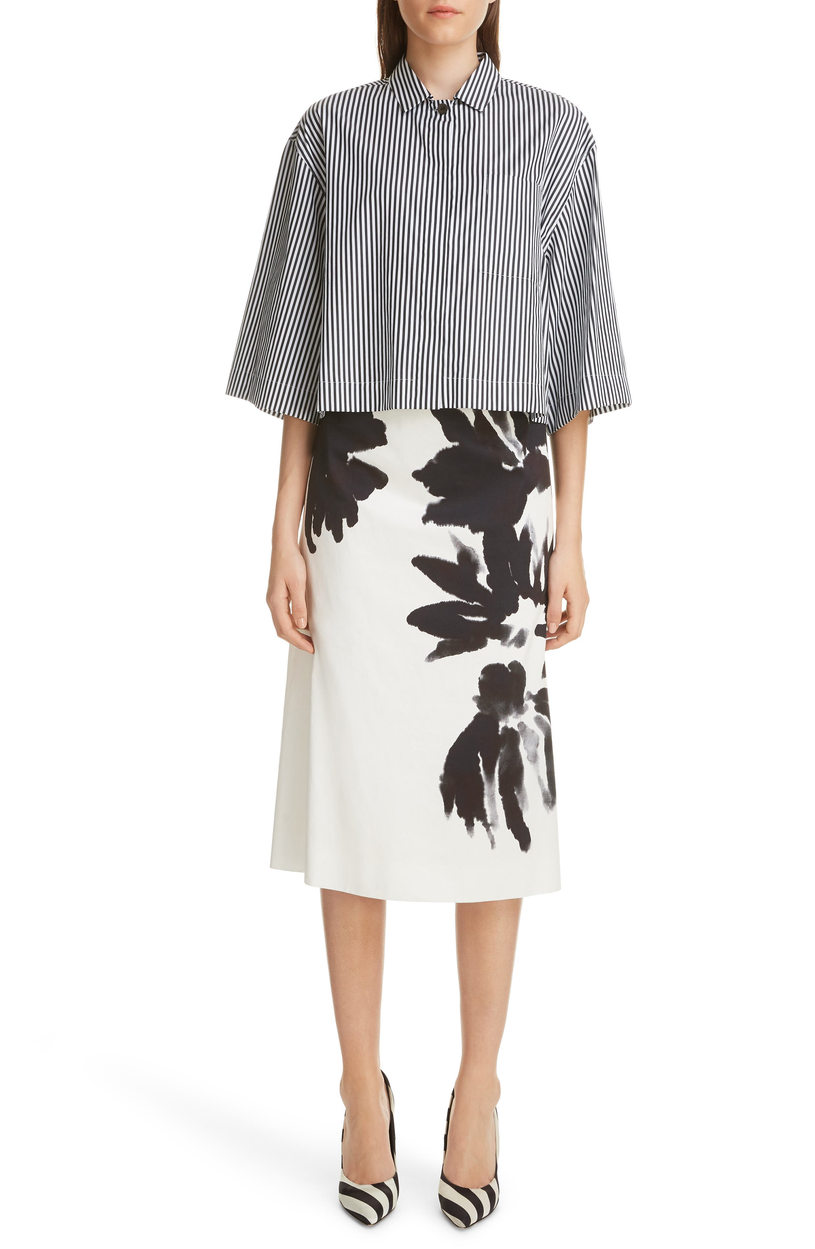 Brush Print Cotton Skirt,                             Alternate thumbnail 6, color,                             900-BLACK