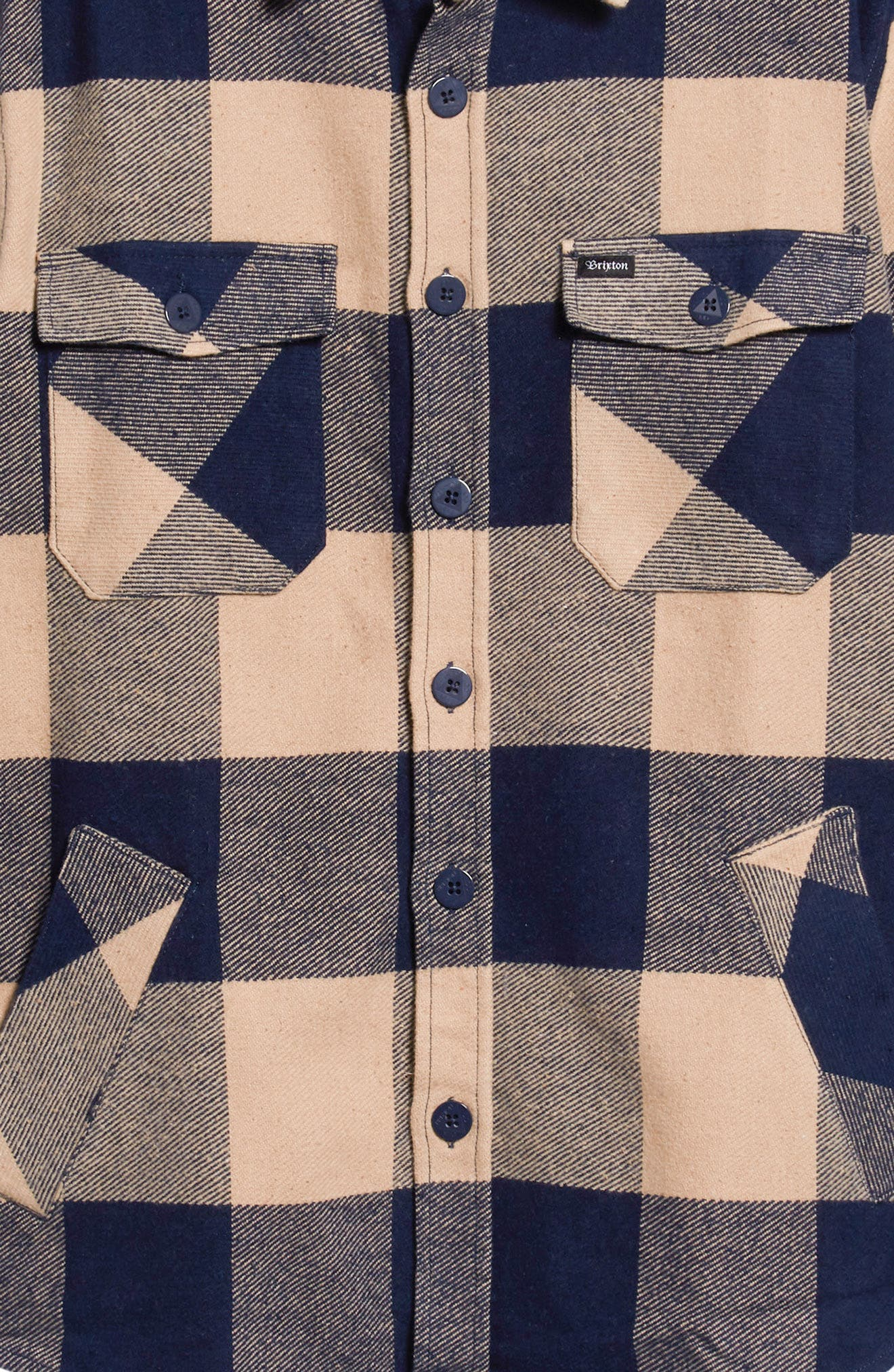 Durham Flannel Shirt,                             Alternate thumbnail 6, color,                             NAVY/ CREAM