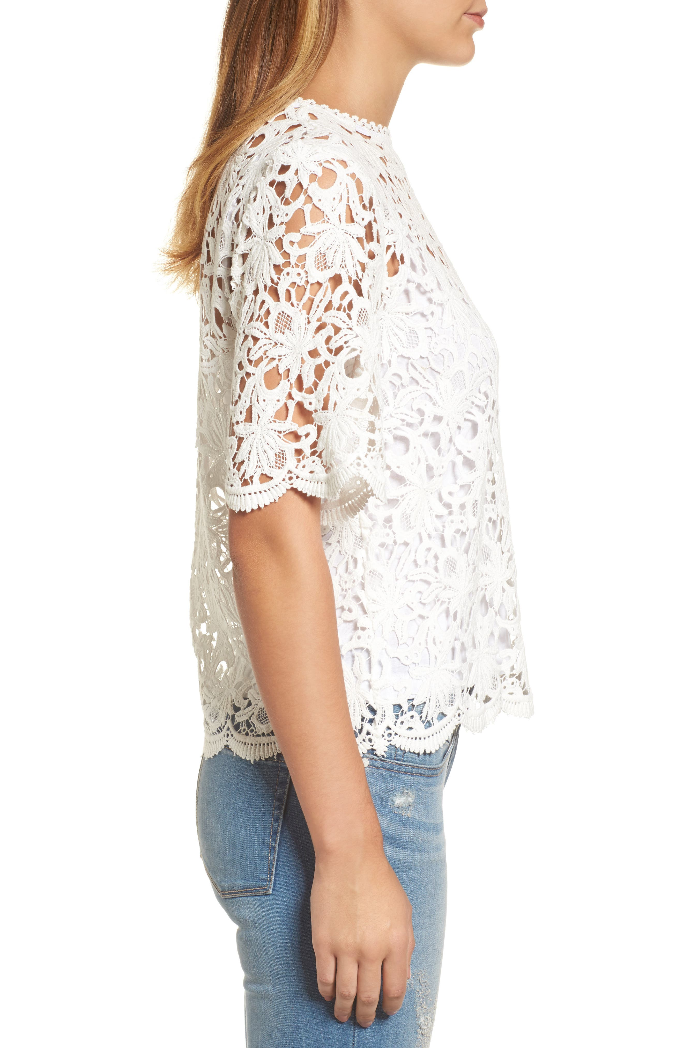 Lace Elbow Sleeve Blouse,                             Alternate thumbnail 5, color,