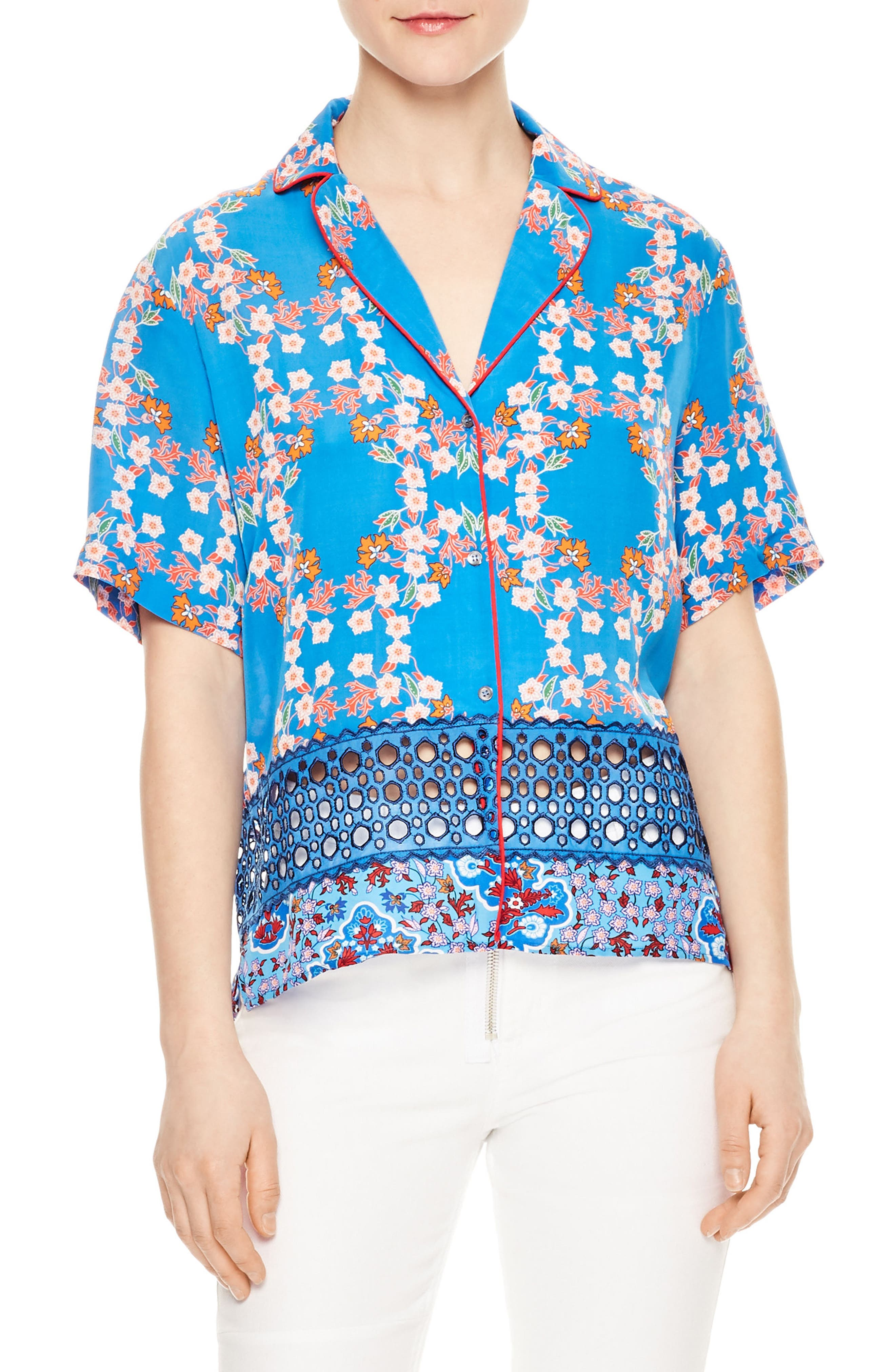Eyelet Inset Floral Top,                         Main,                         color, 400