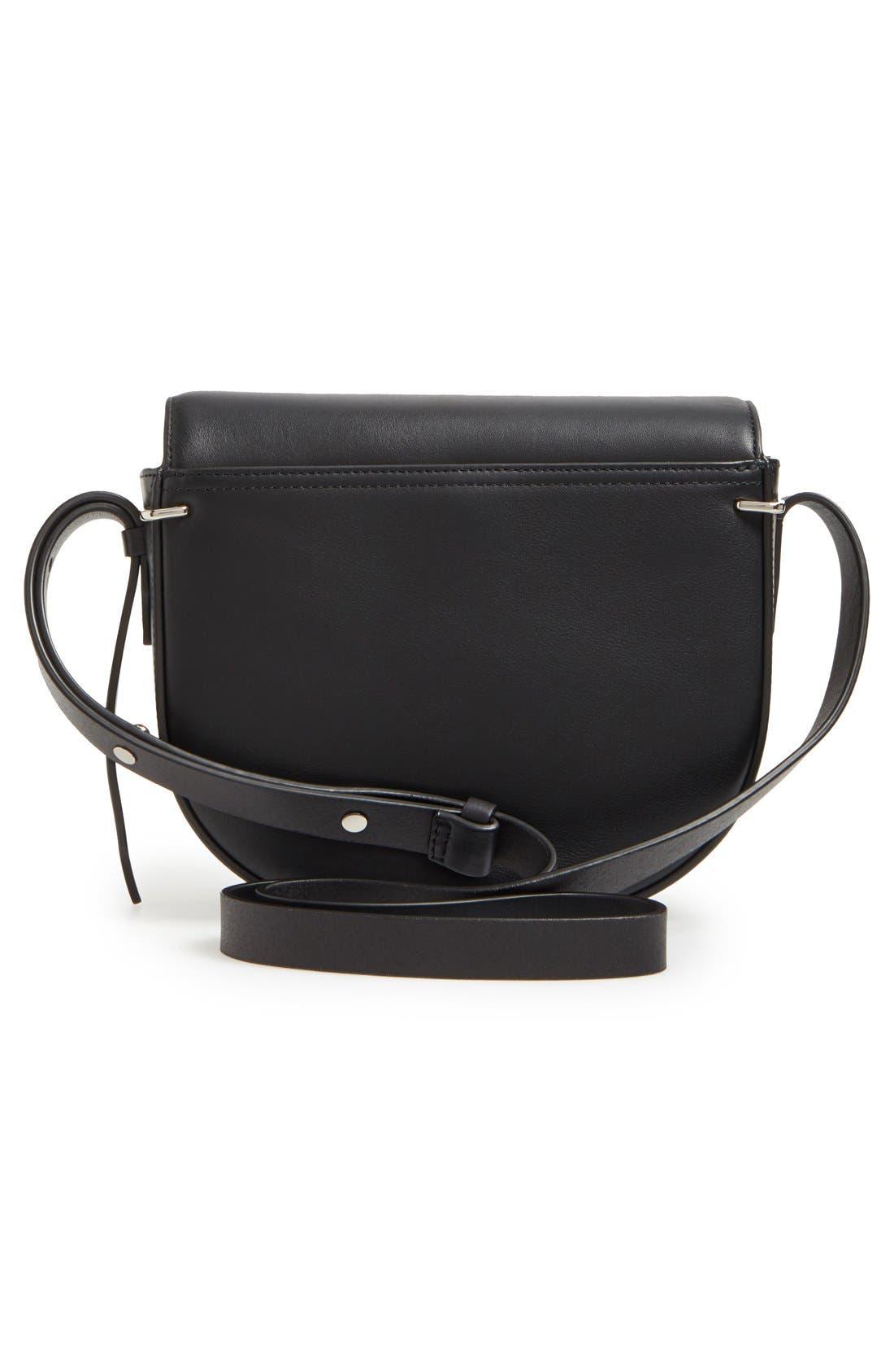 Alix Leather Saddle Bag,                             Alternate thumbnail 3, color,                             001