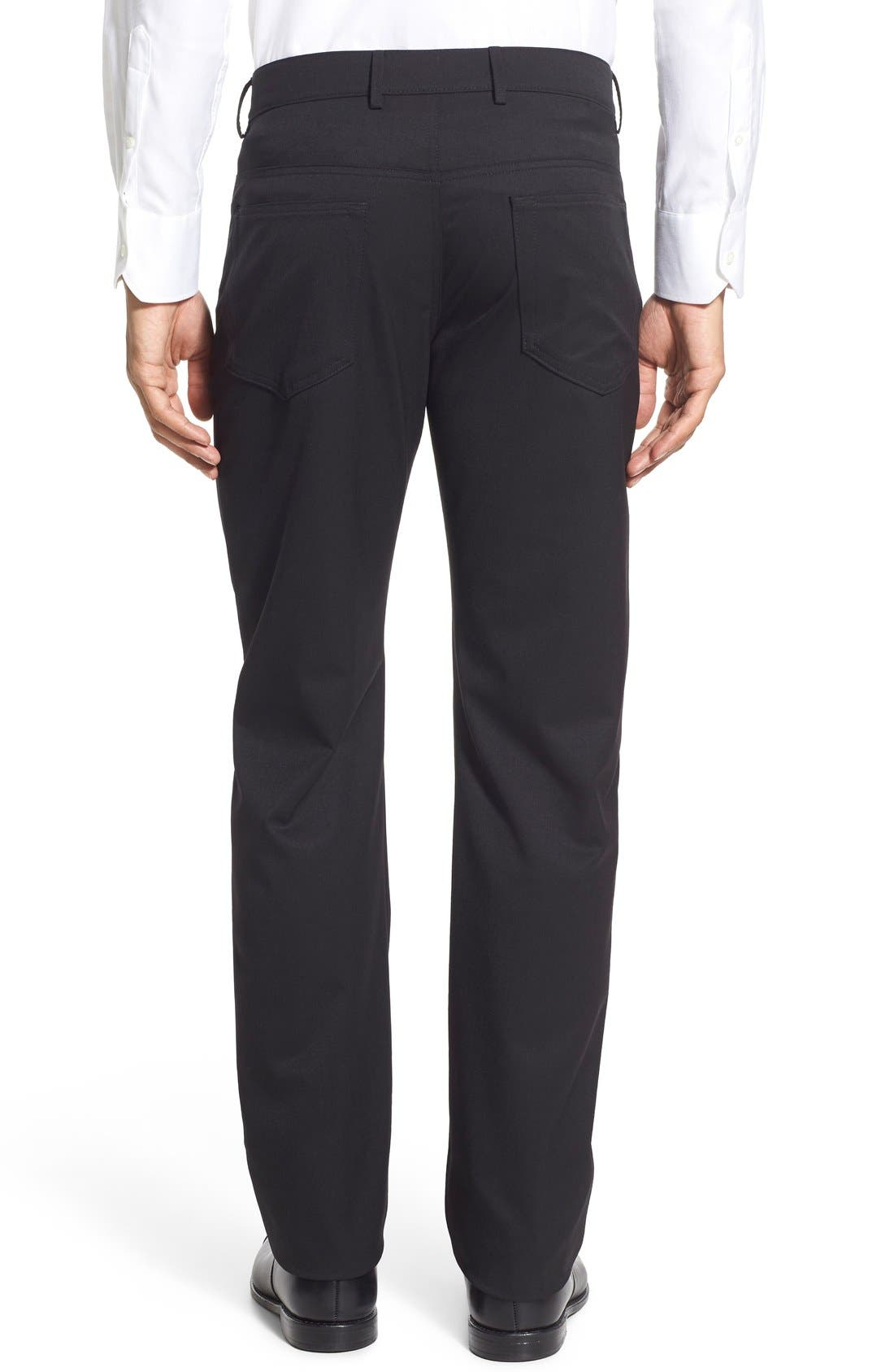 Flat Front Solid Wool Blend Trousers,                             Alternate thumbnail 2, color,                             001