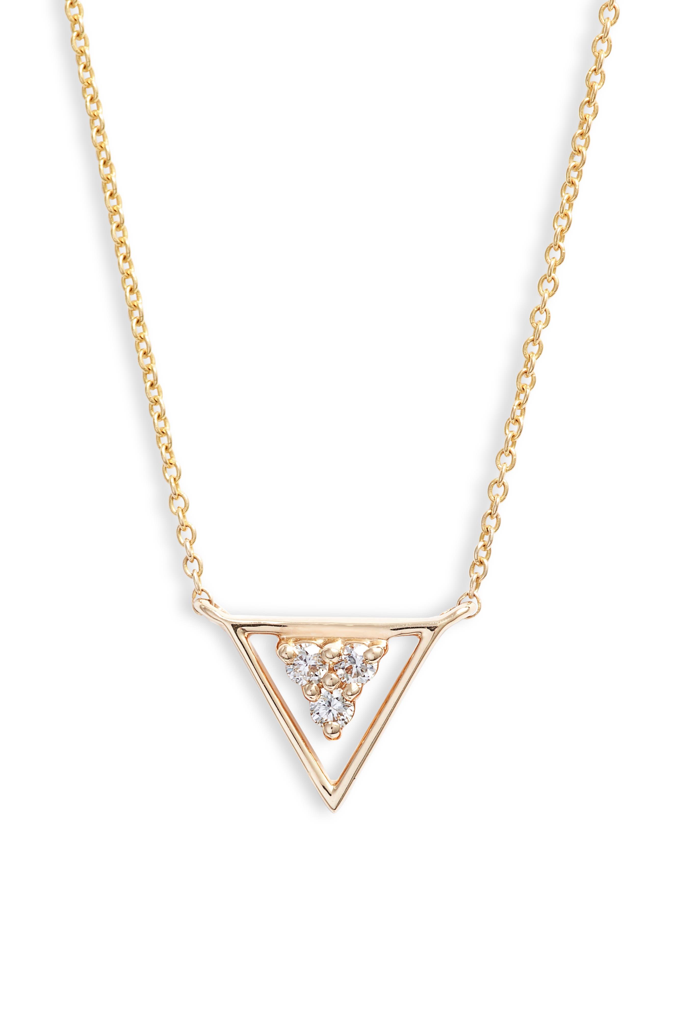 DANA REBECCA DESIGNS Ivy Diamond Triangle Pendant Necklace, Main, color, YELLOW GOLD/ PEARL