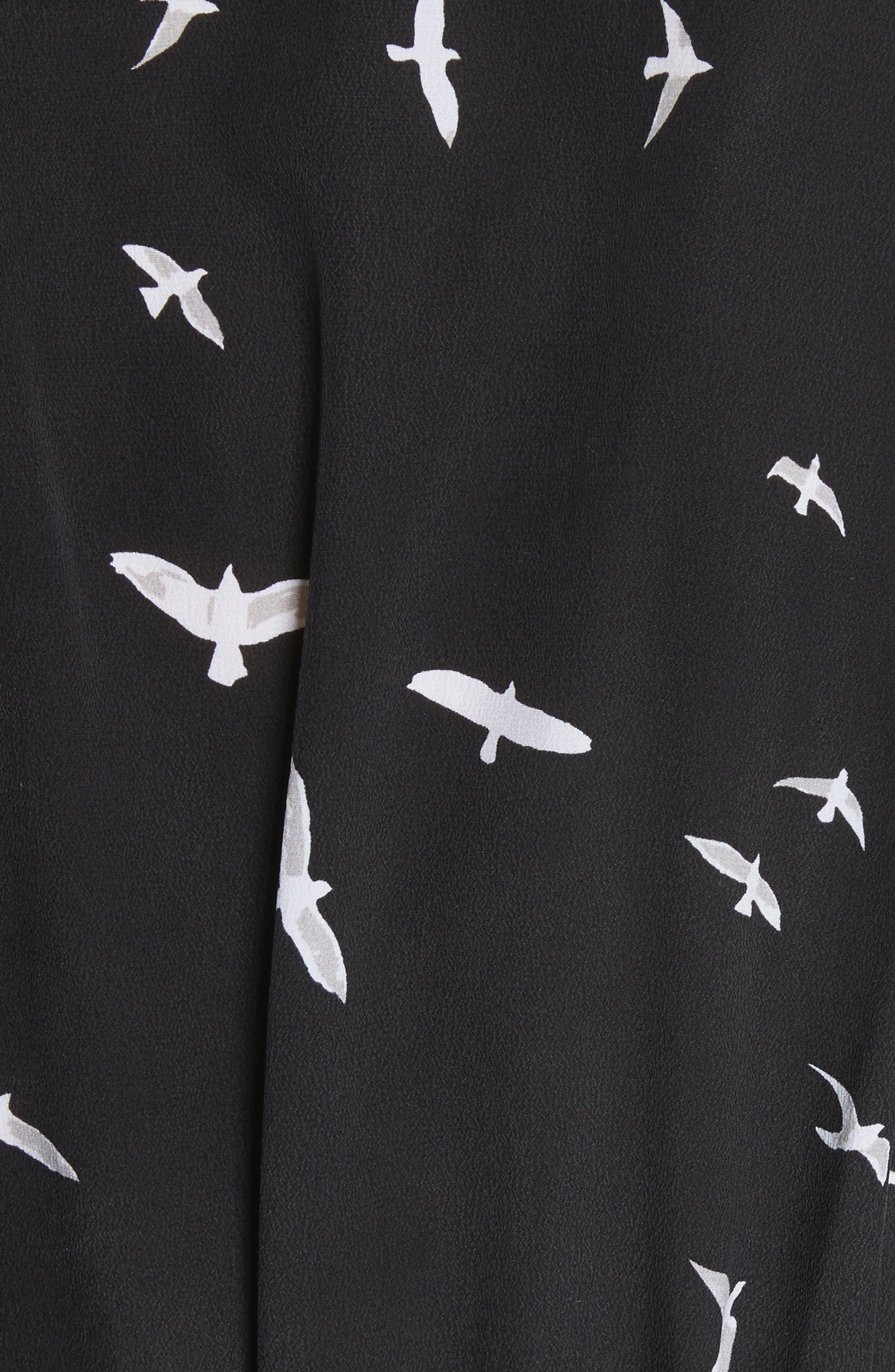 Bird Print Silk Maxi Dress,                             Alternate thumbnail 5, color,                             003