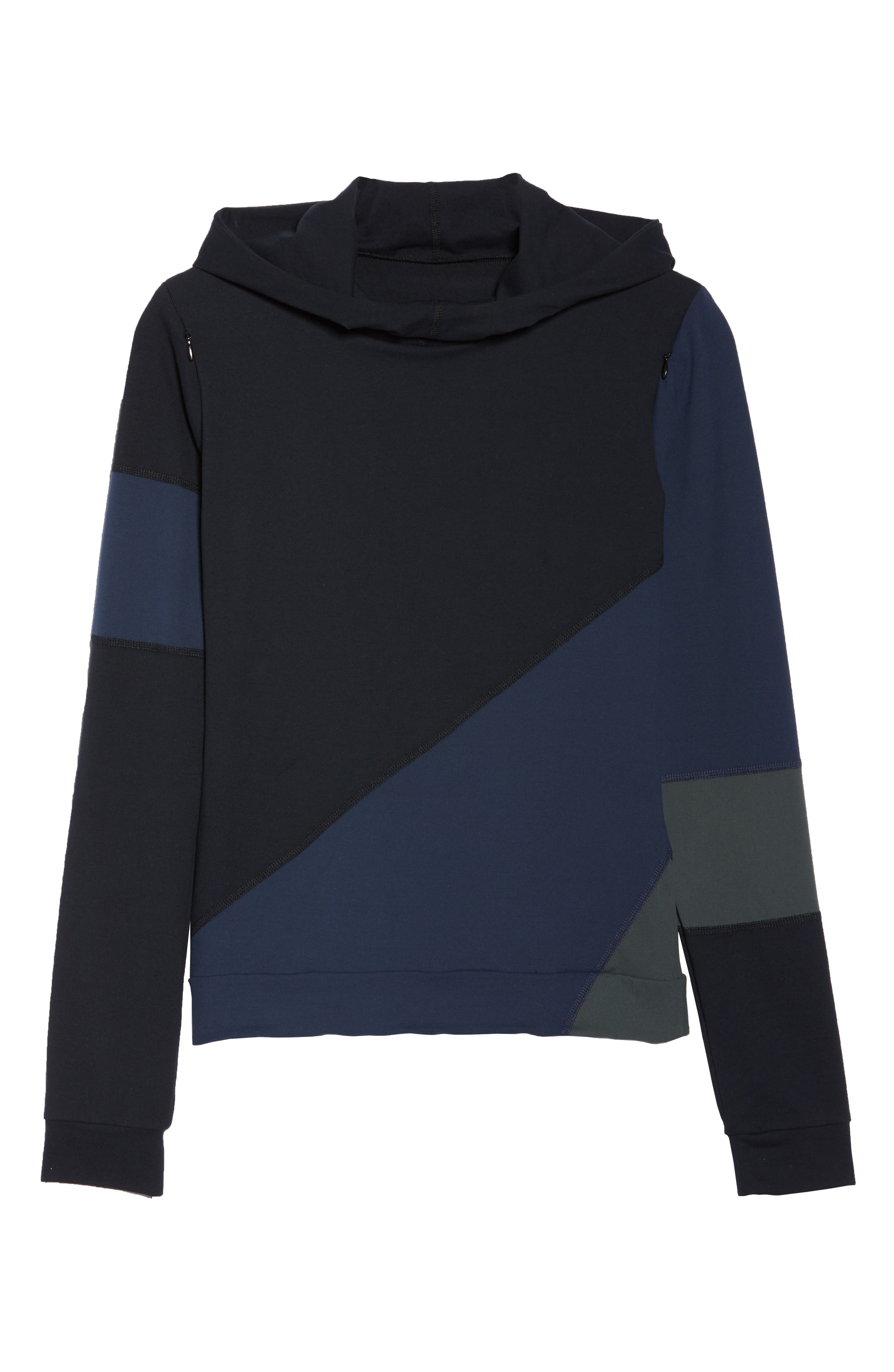 BoomBoom Athletica Tricolor Brushed Hoodie,                             Alternate thumbnail 7, color,                             NAVY/ BLACK/ GREEN