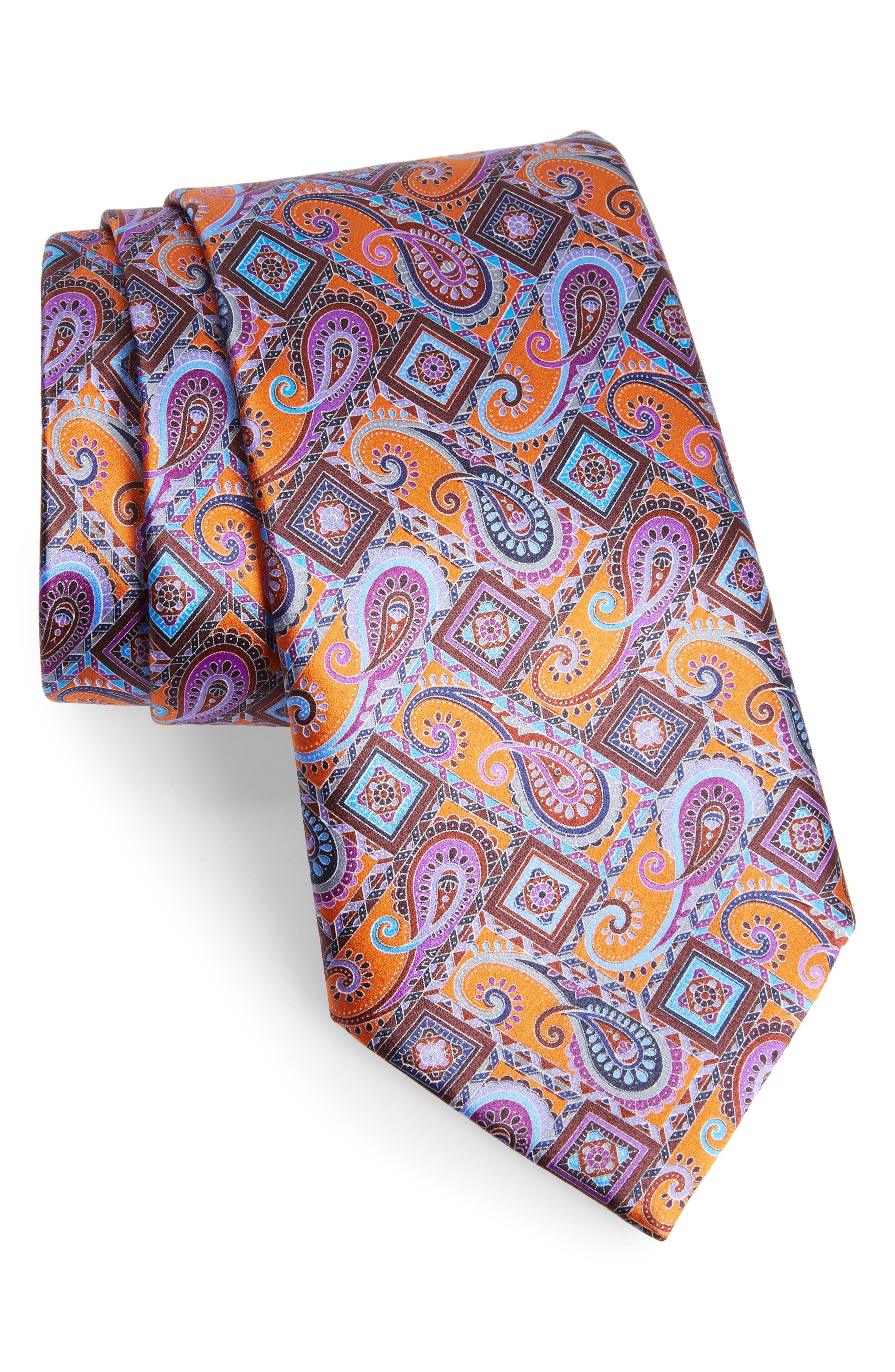 Quindici + Quindici Paisley Silk Tie,                         Main,                         color, ORANGE
