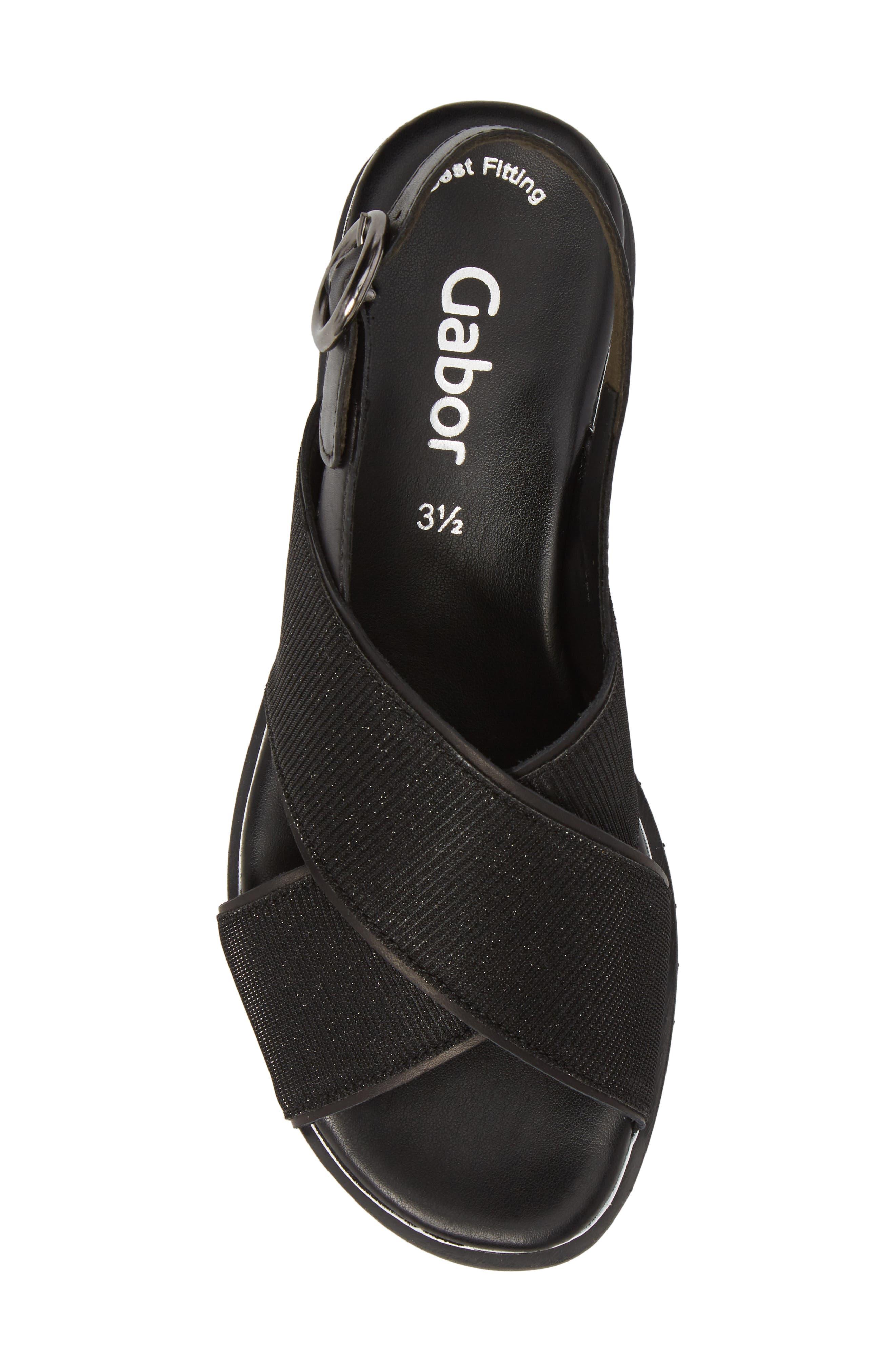 Crossover Strap Platform Sandal,                             Alternate thumbnail 5, color,                             BLACK LEATHER