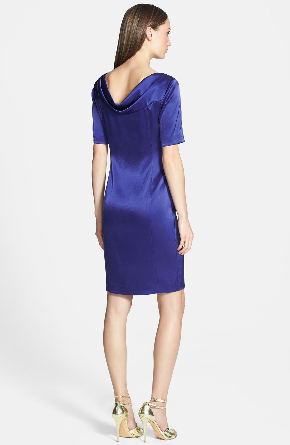 Liquid Satin Cowl Neck Dress,                             Alternate thumbnail 3, color,                             400