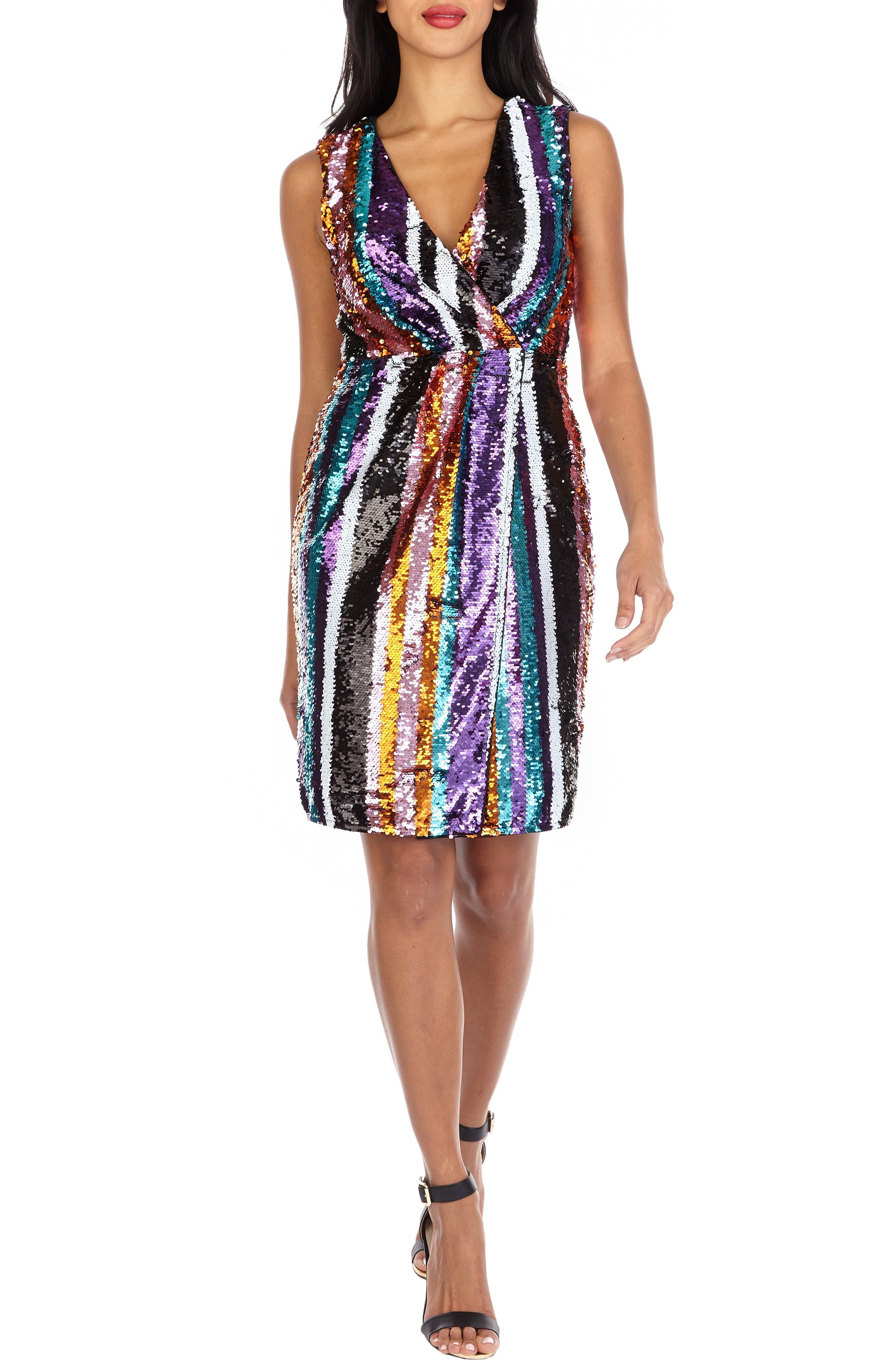Sarah Rainbow Sequin Stripe Cocktail Sheath,                             Main thumbnail 1, color,                             MULTI PURPLE