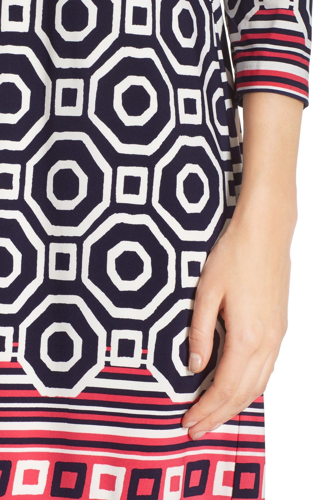 Print Jersey Shift Dress,                             Alternate thumbnail 6, color,                             410