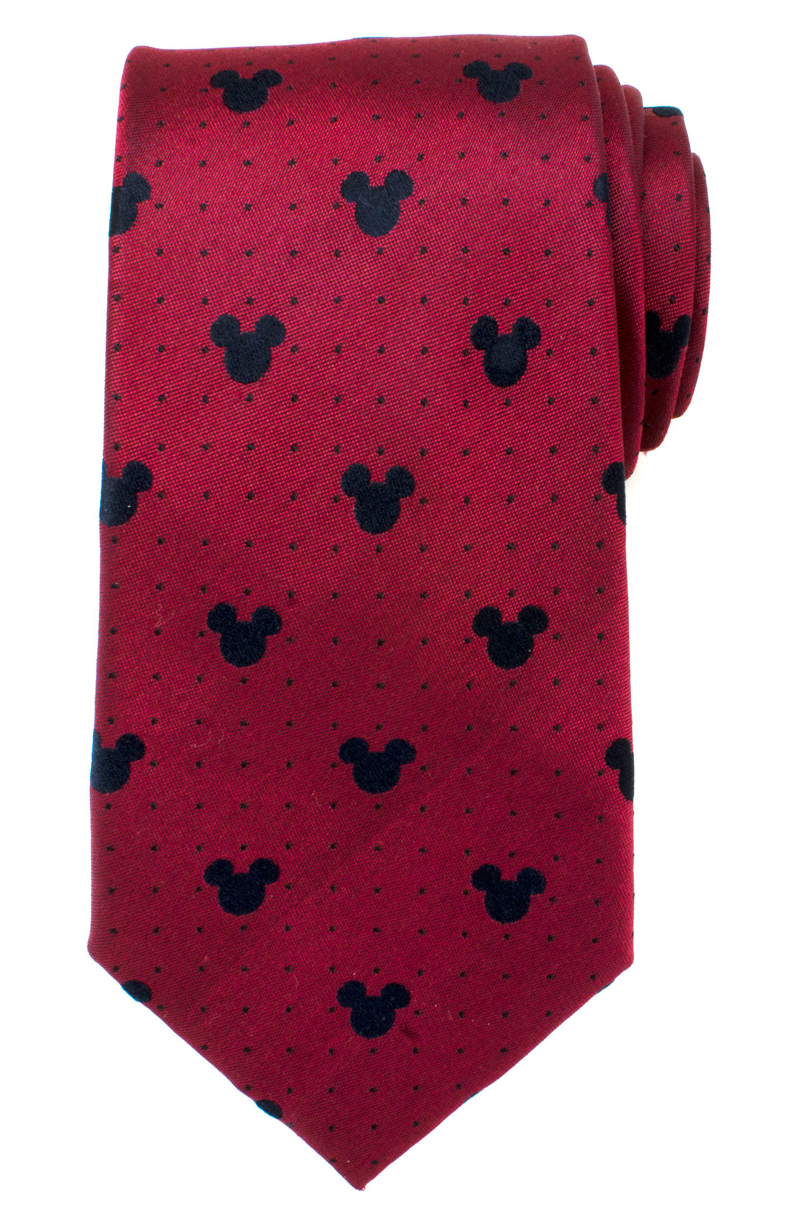 Mickey Mouse Silk Tie,                             Alternate thumbnail 2, color,                             RED