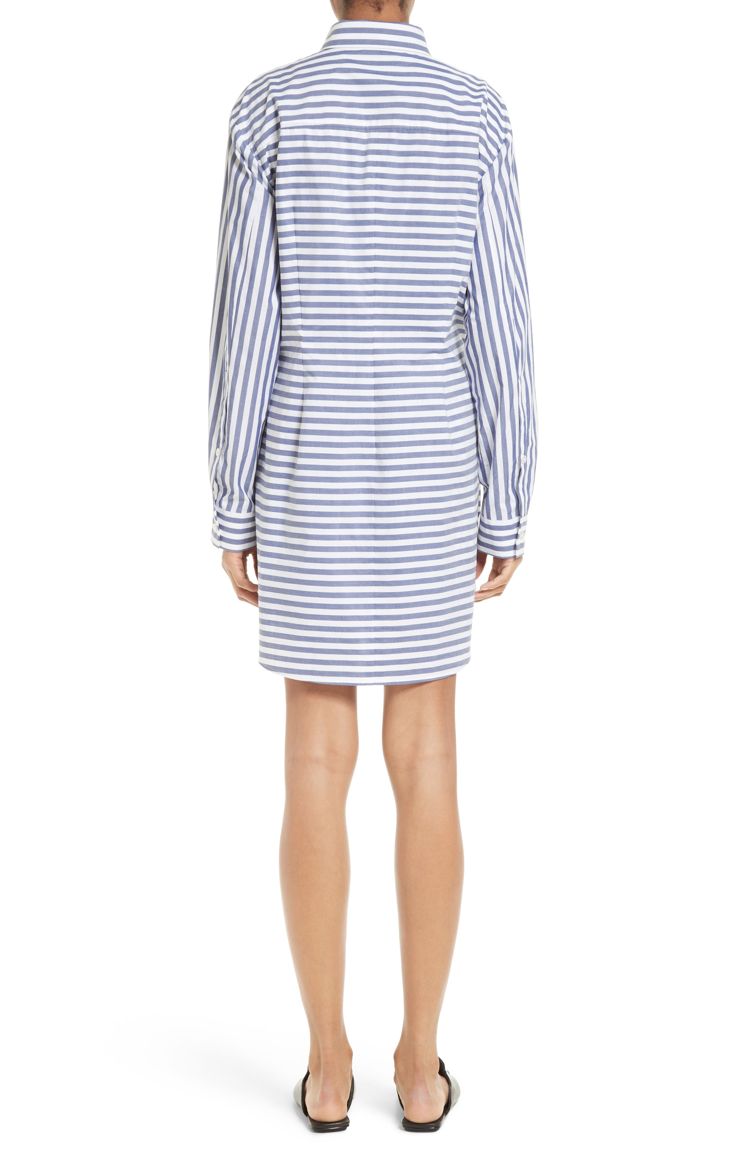 T by Alexander Wang Stripe Tie Front Shirtdress,                             Alternate thumbnail 2, color,                             150