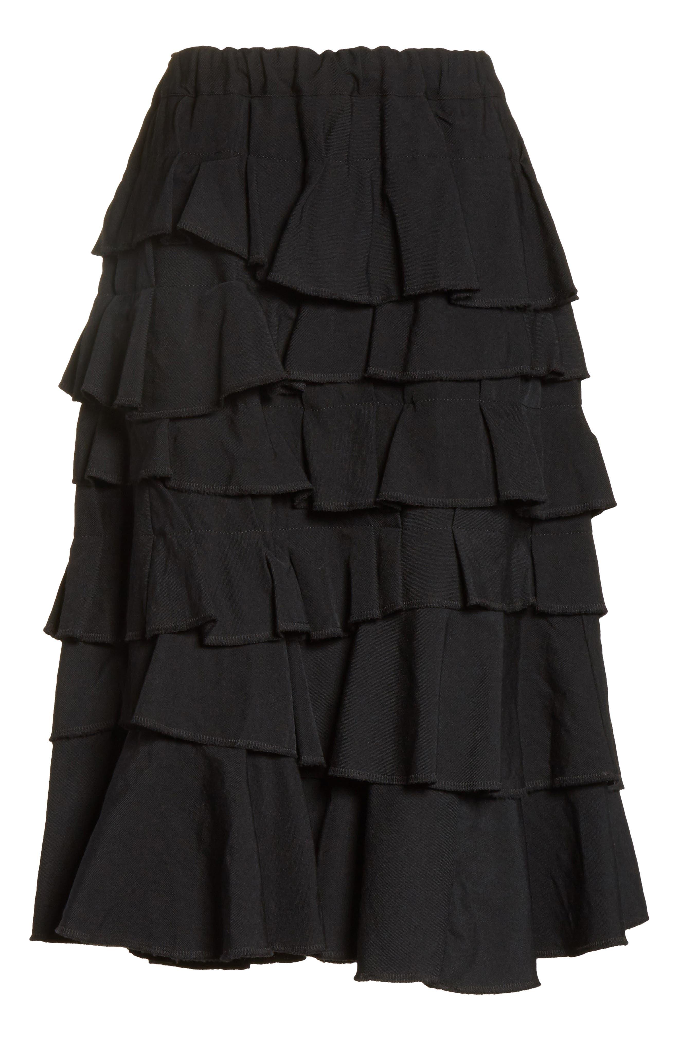 Ruffle Gabardine Skirt,                             Alternate thumbnail 6, color,                             001
