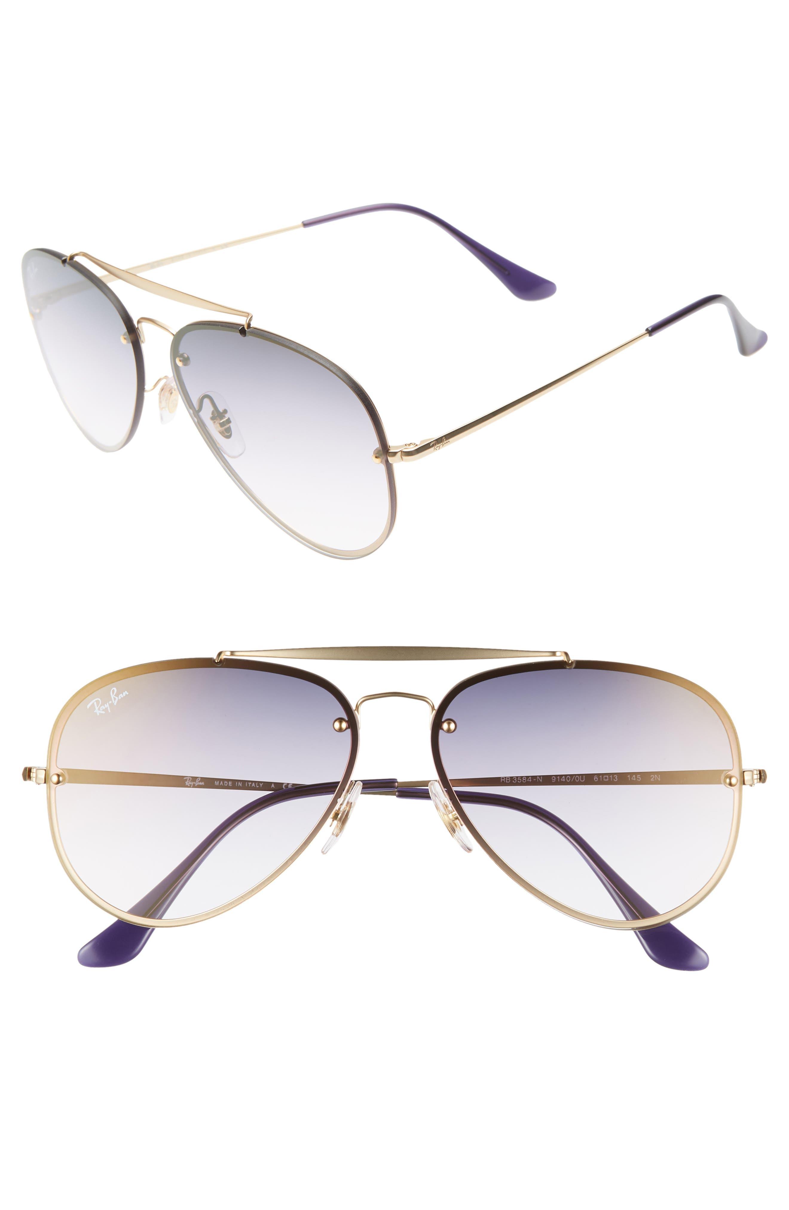61mm Mirrored Lens Aviator Sunglasses,                             Main thumbnail 1, color,                             GOLD/ BLUE VIOLET GRADIENT