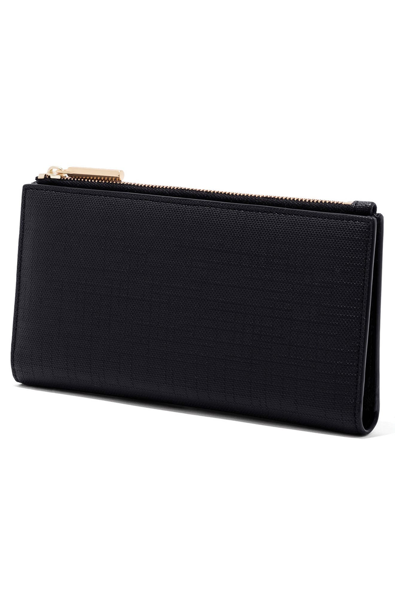Signature Slim Coated Canvas Wallet,                             Alternate thumbnail 4, color,                             ONYX
