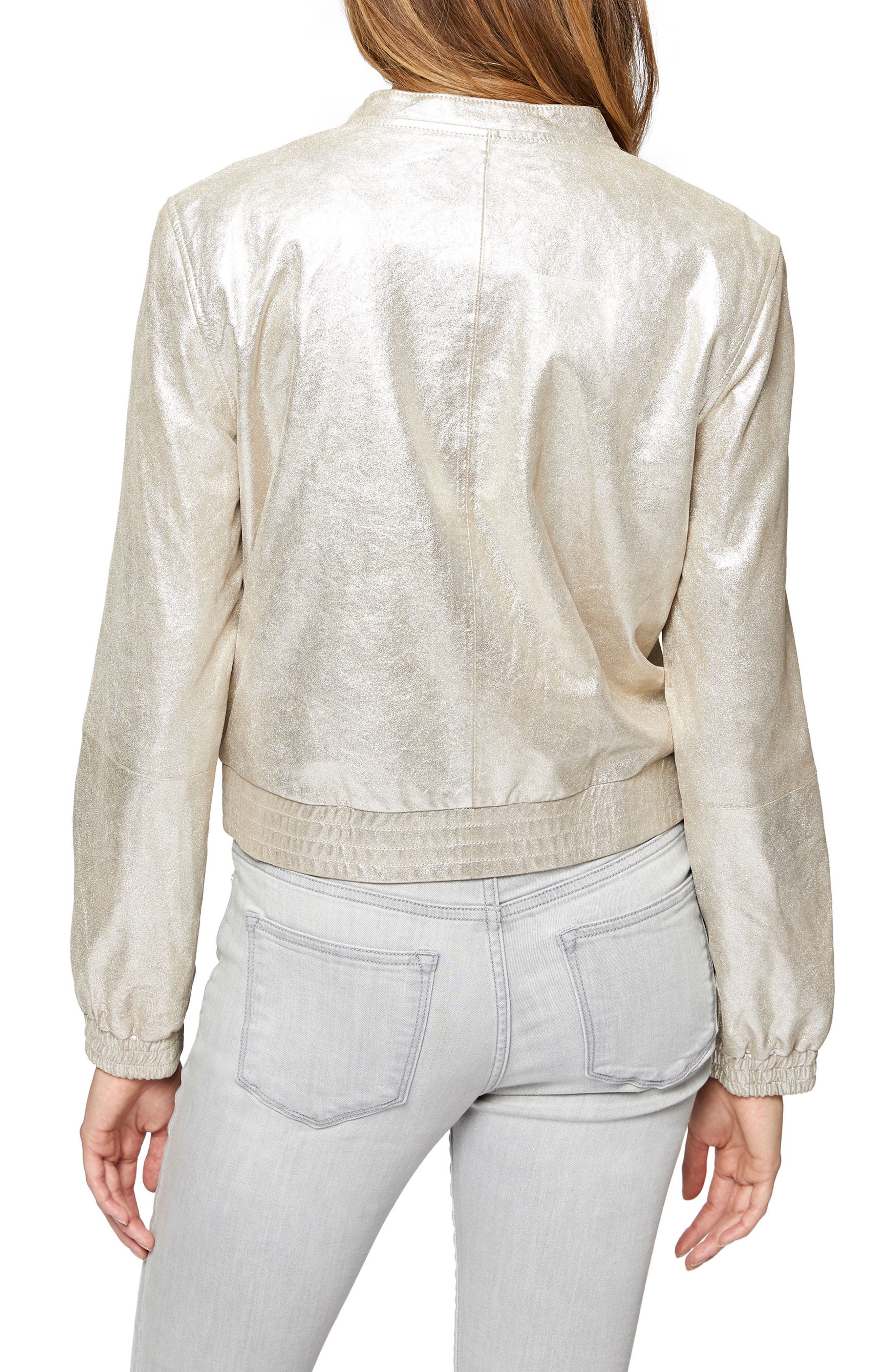 Cool Gang Metallic Leather Bomber Jacket,                             Alternate thumbnail 2, color,                             040