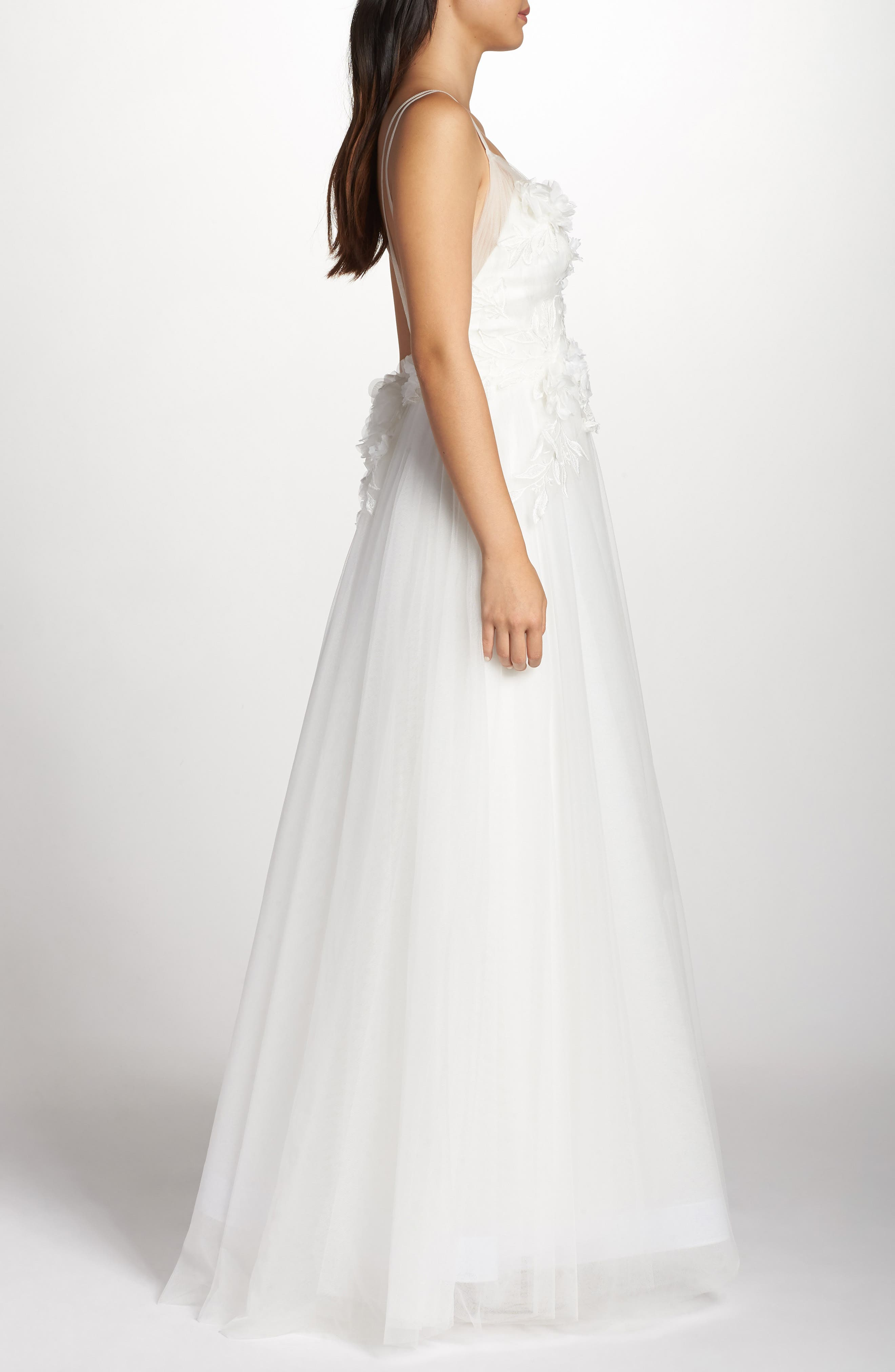 Embellished Tulle Ballgown,                             Alternate thumbnail 3, color,                             IVORY