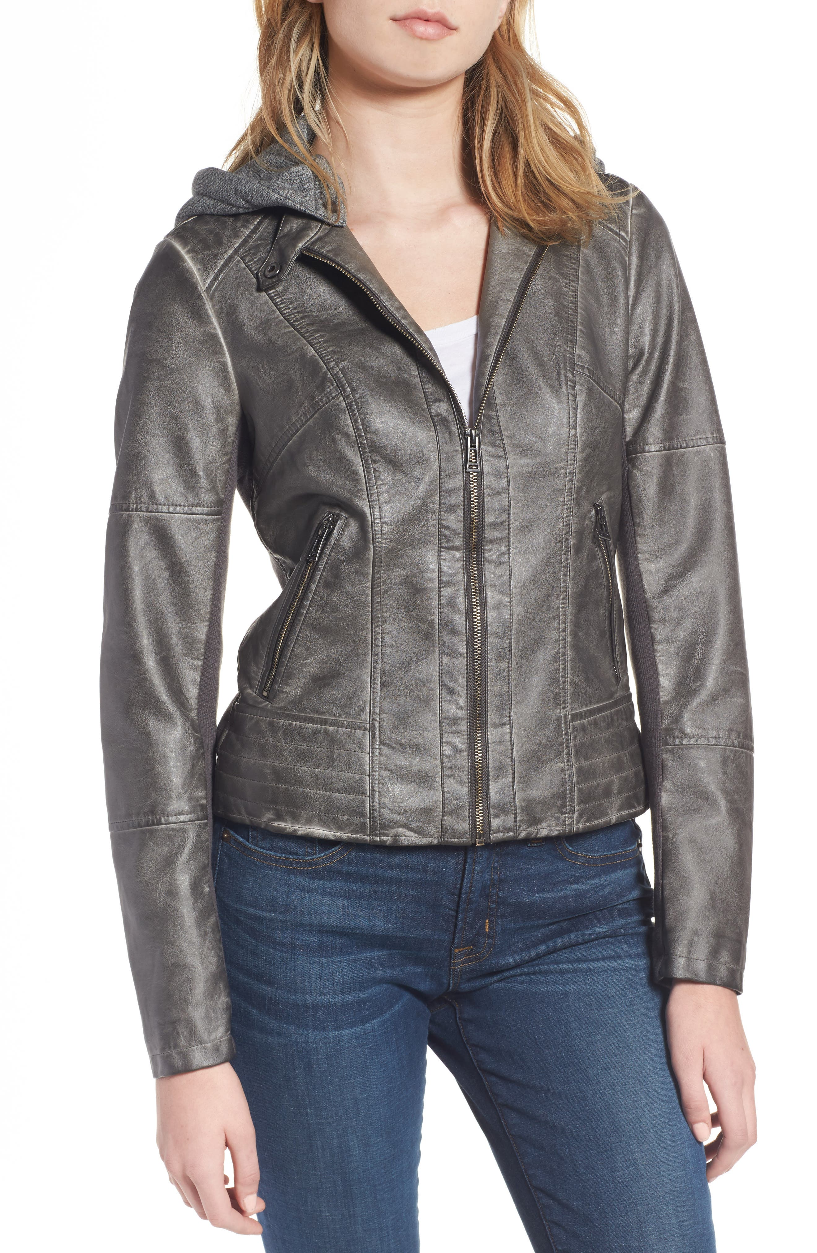 Faux Leather Jacket with Detachable Jersey Hood,                             Alternate thumbnail 4, color,                             020