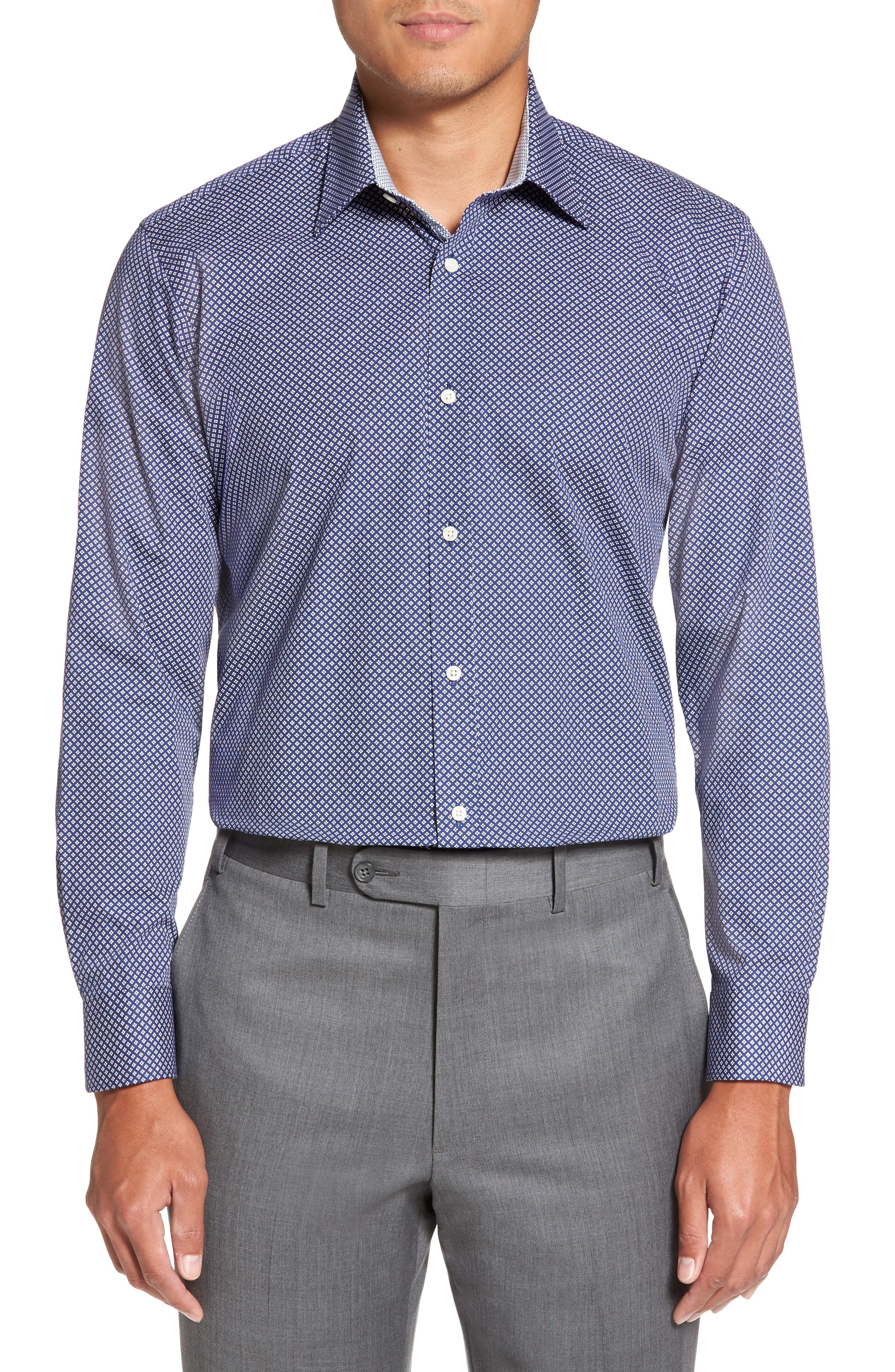 Agra Trim Fit Geometric Dress Shirt,                             Main thumbnail 1, color,                             410