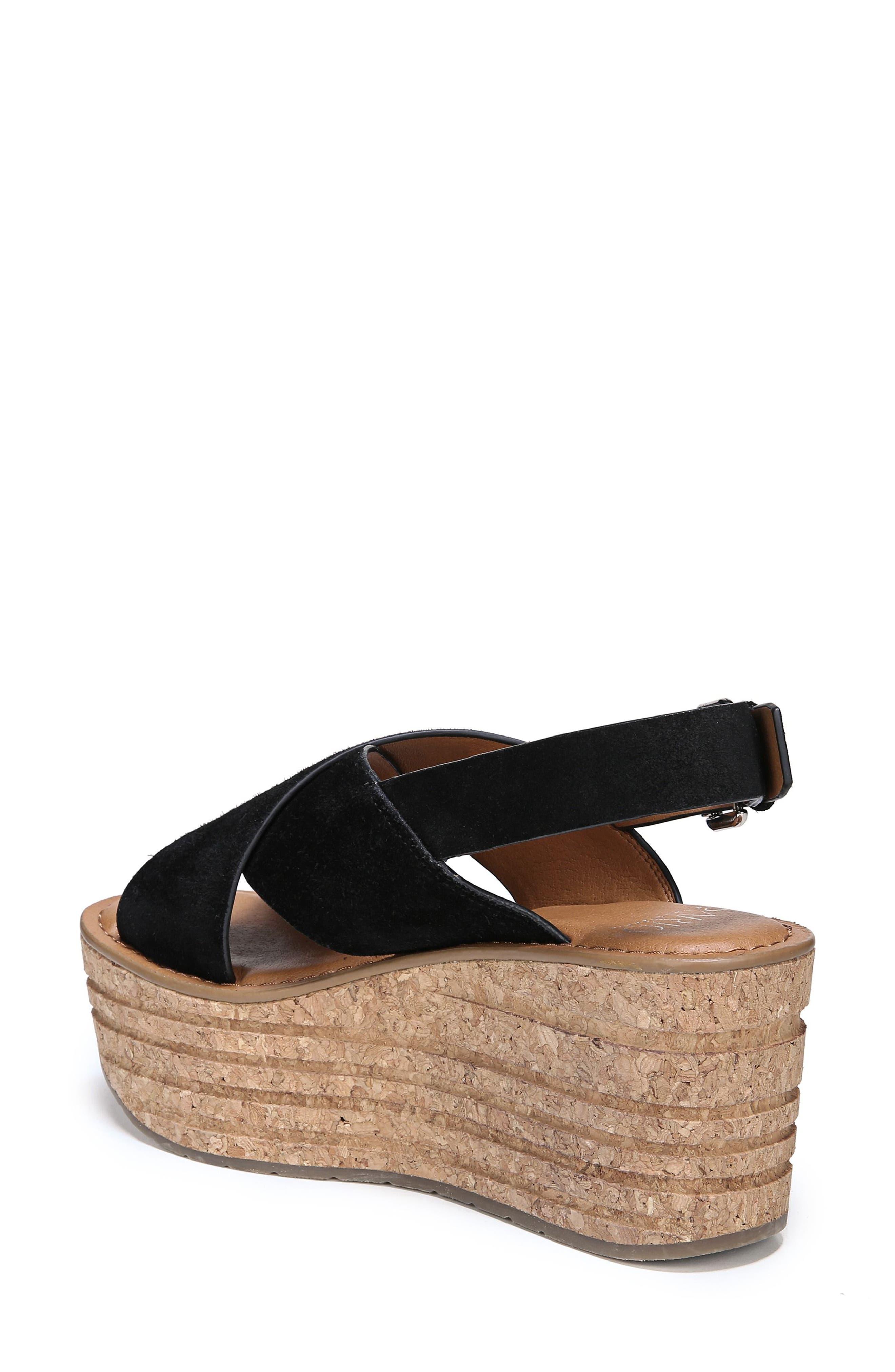 Caroline Platform Wedge Sandal,                             Alternate thumbnail 7, color,                             001