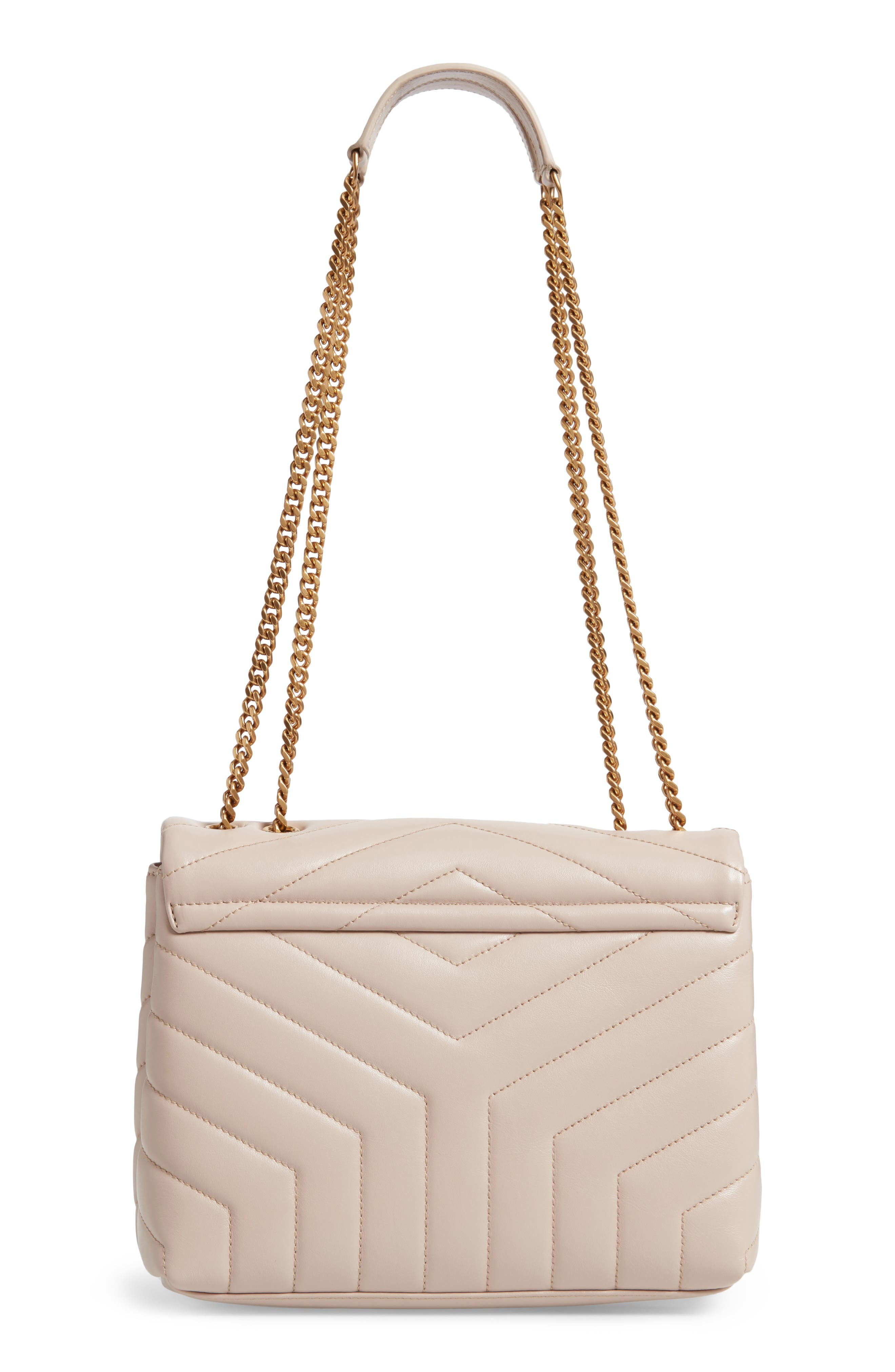 SAINT LAURENT,                             Small Loulou Leather Shoulder Bag,                             Alternate thumbnail 3, color,                             LIGHT NATURAL
