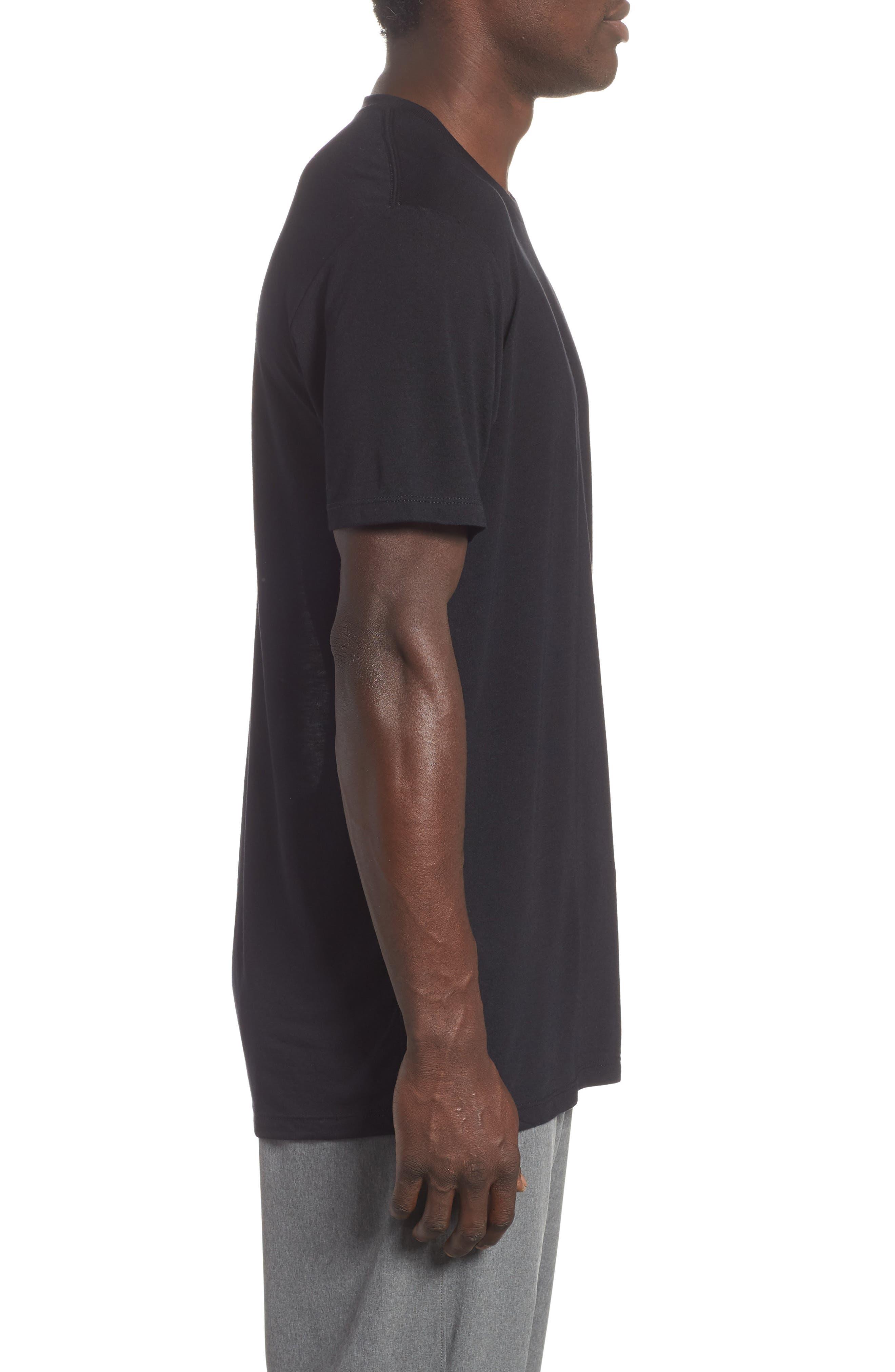 Active Crewneck T-Shirt,                             Alternate thumbnail 3, color,                             BLACK