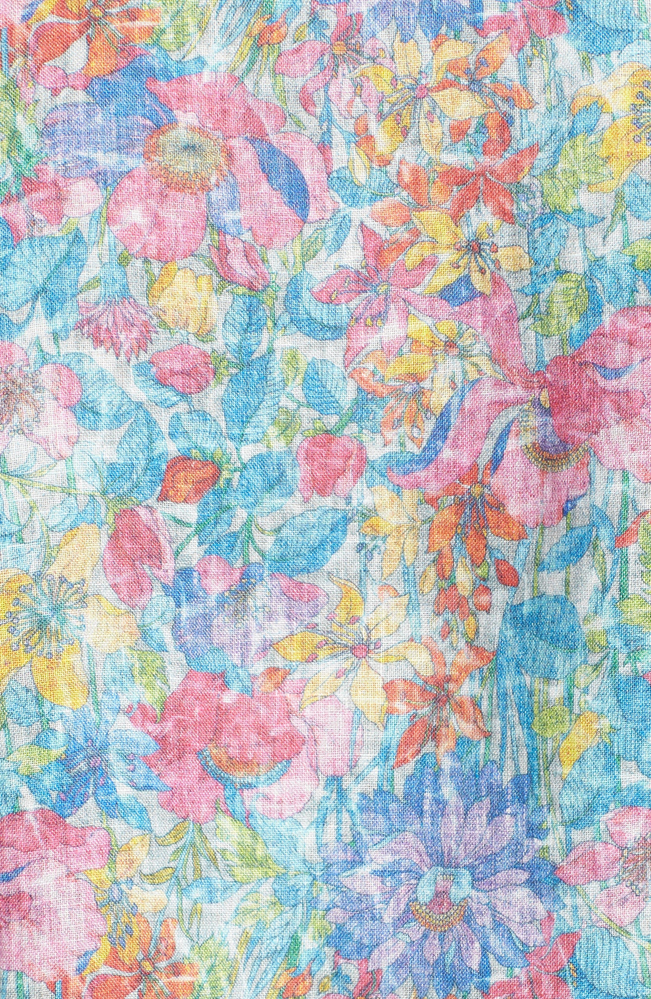 Shaped Fit Floral Linen Sport Shirt,                             Alternate thumbnail 5, color,                             329