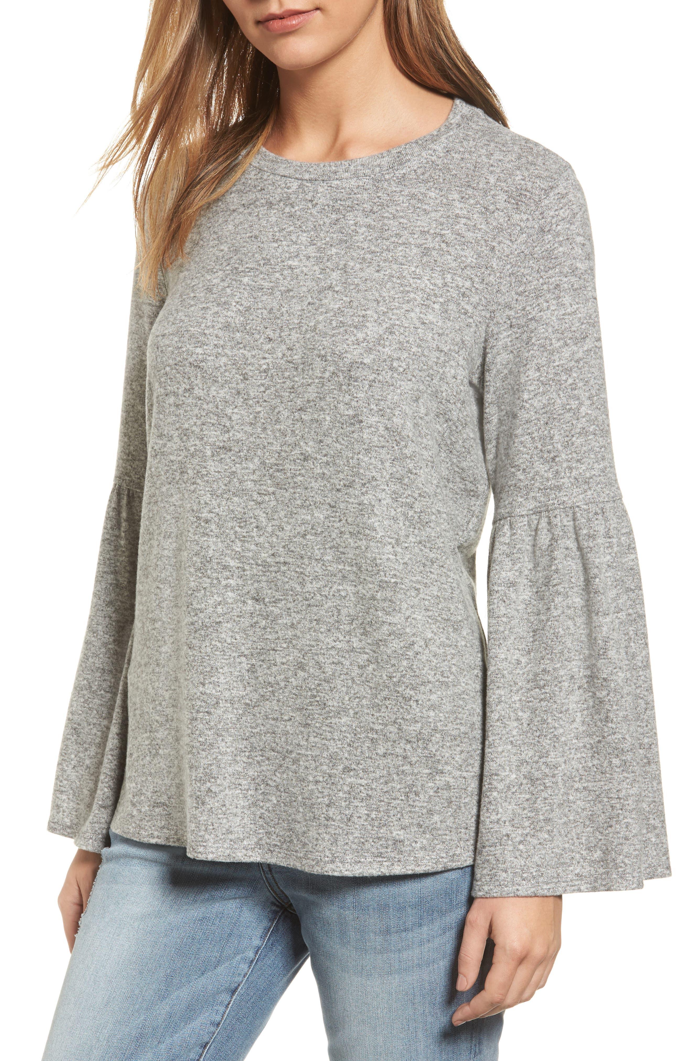 Bell Sleeve Cozy Fleece Pullover,                             Main thumbnail 7, color,