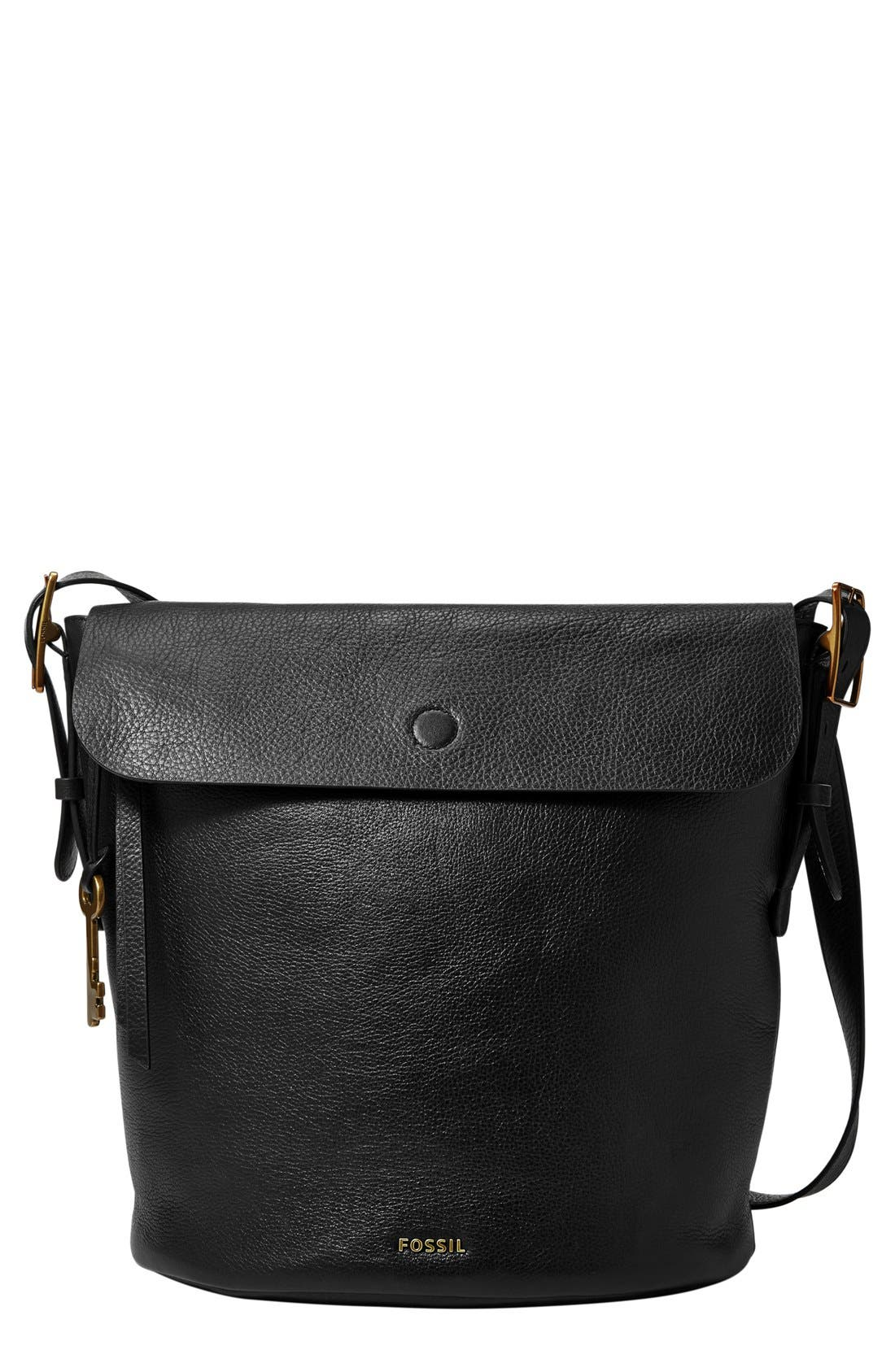 FOSSIL 'Haven' Leather Bucket Bag, Main, color, 001