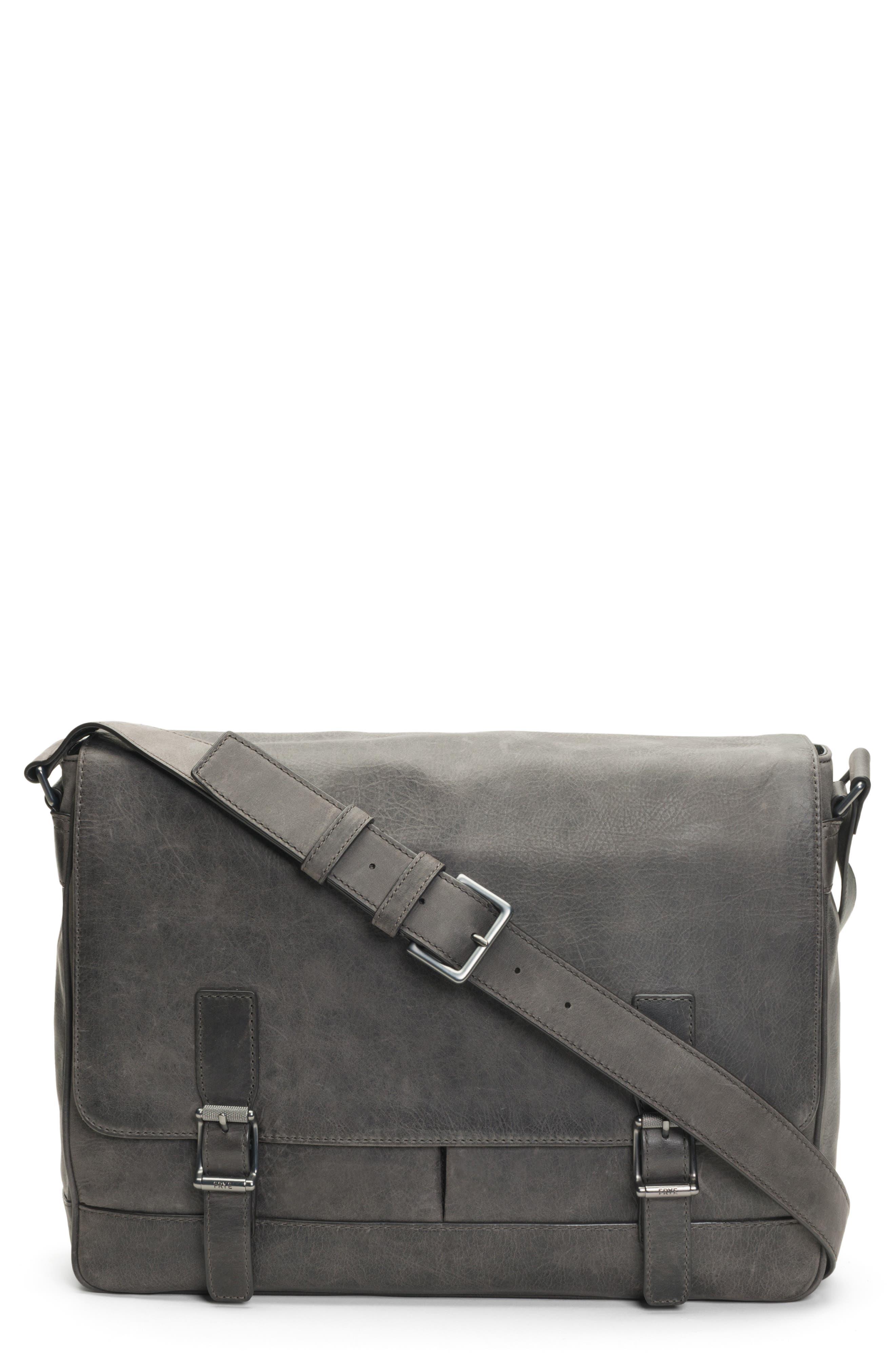 Oliver Leather Messenger Bag,                         Main,                         color, SLATE