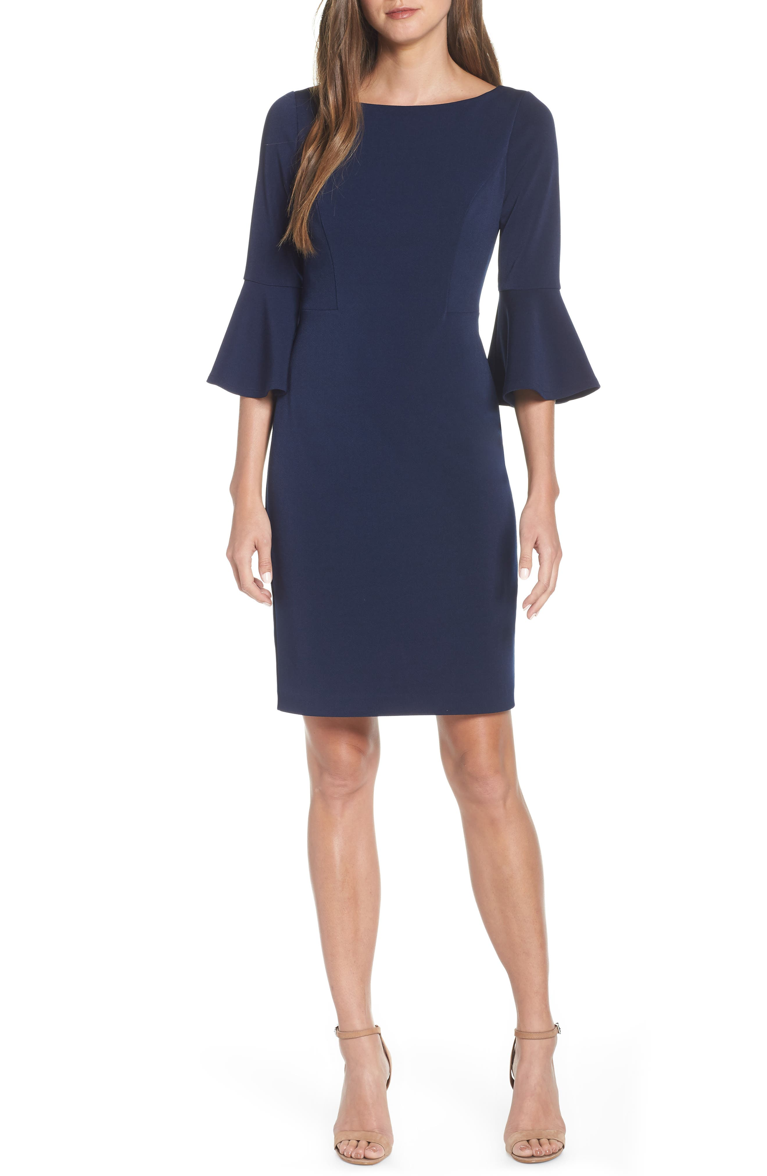 HARPER ROSE Bell Sleeve Bateau Neck Sheath Dress, Main, color, NAVY