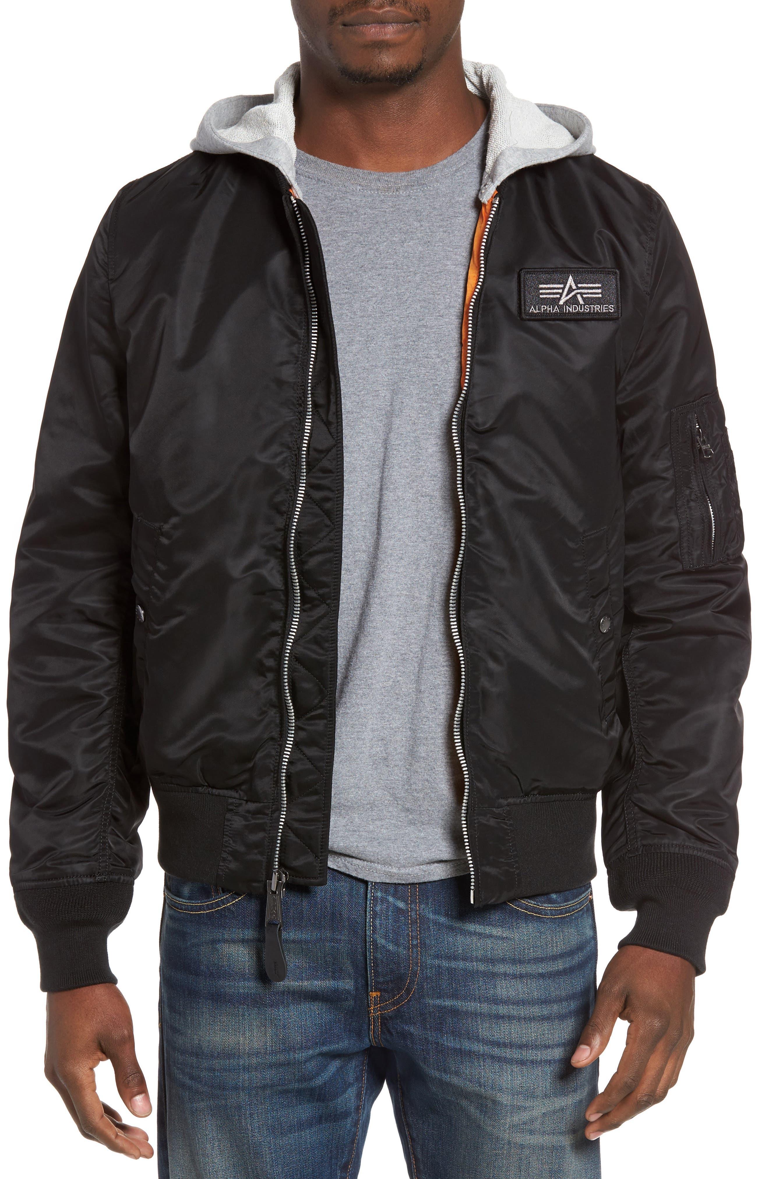 Lightweight L2-B Flight Jacket with Knit Hood,                         Main,                         color,