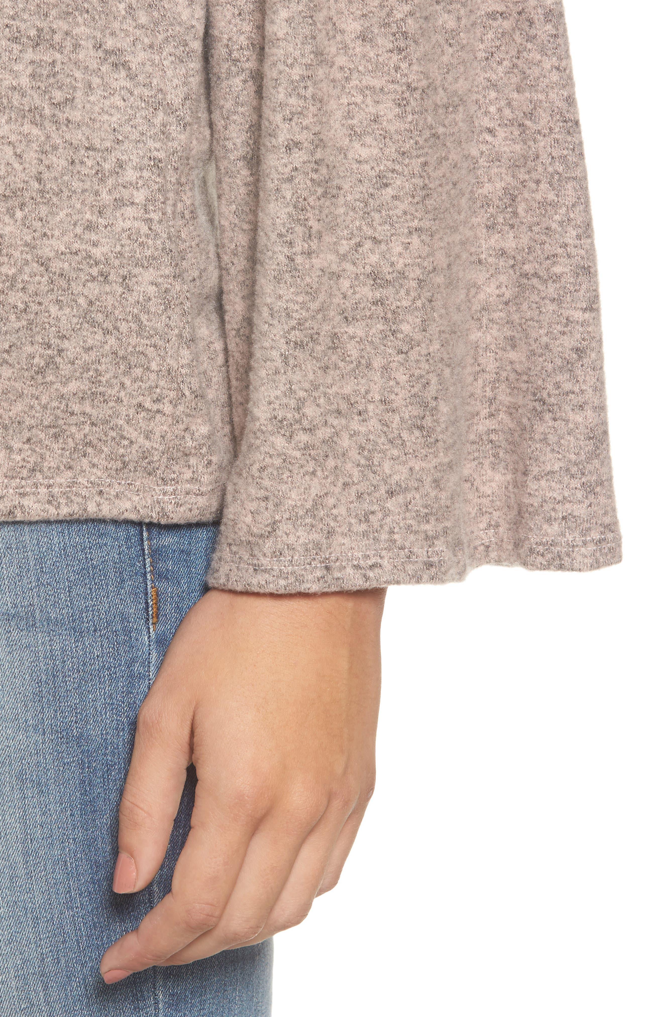 Bell Sleeve Cozy Fleece Pullover,                             Alternate thumbnail 42, color,