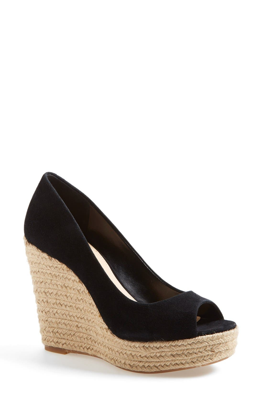 'Totsi' Peep Toe Espadrille Wedge, Main, color, 001