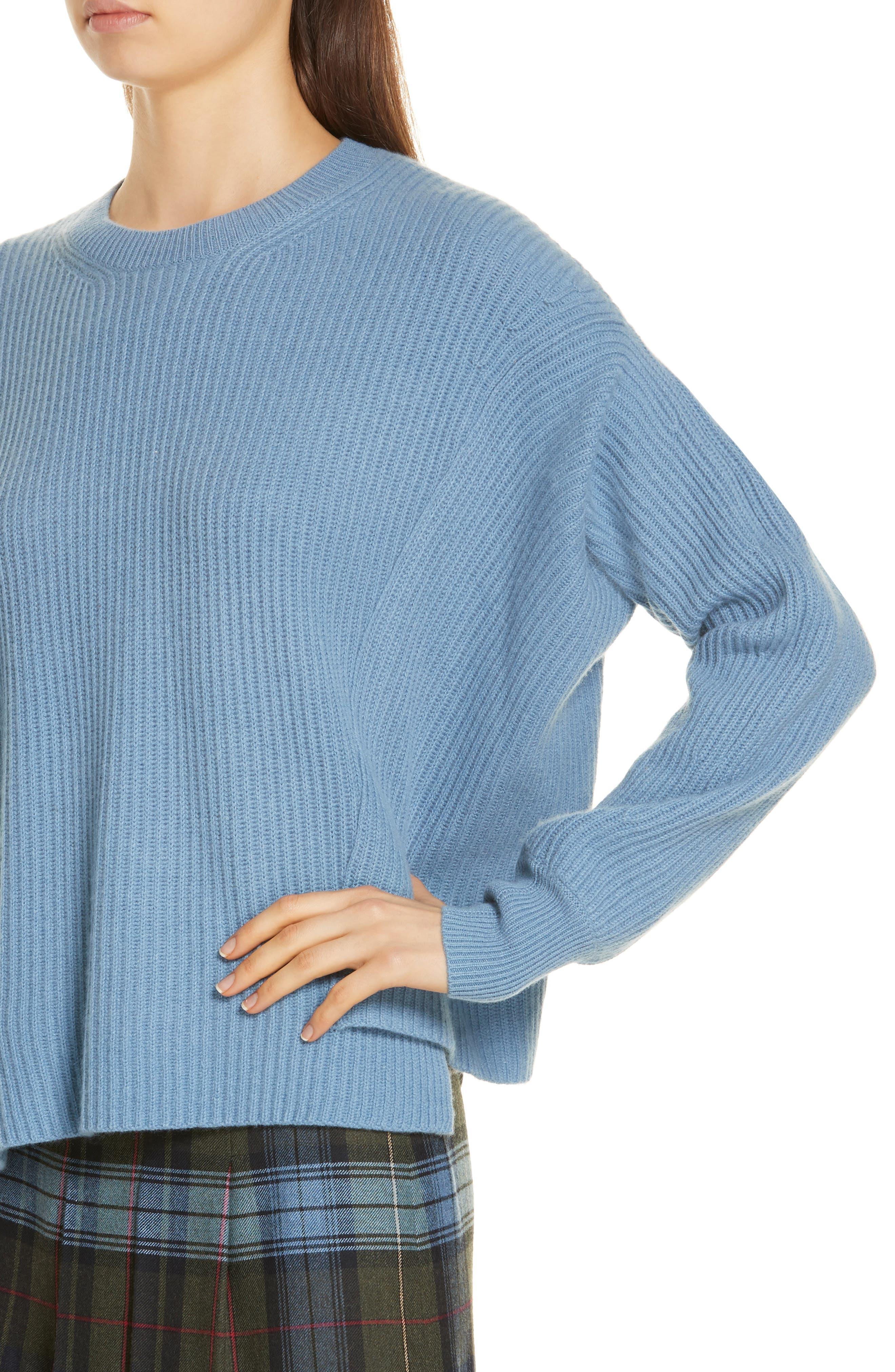 Rib Knit Cashmere Sweater,                             Alternate thumbnail 4, color,                             420