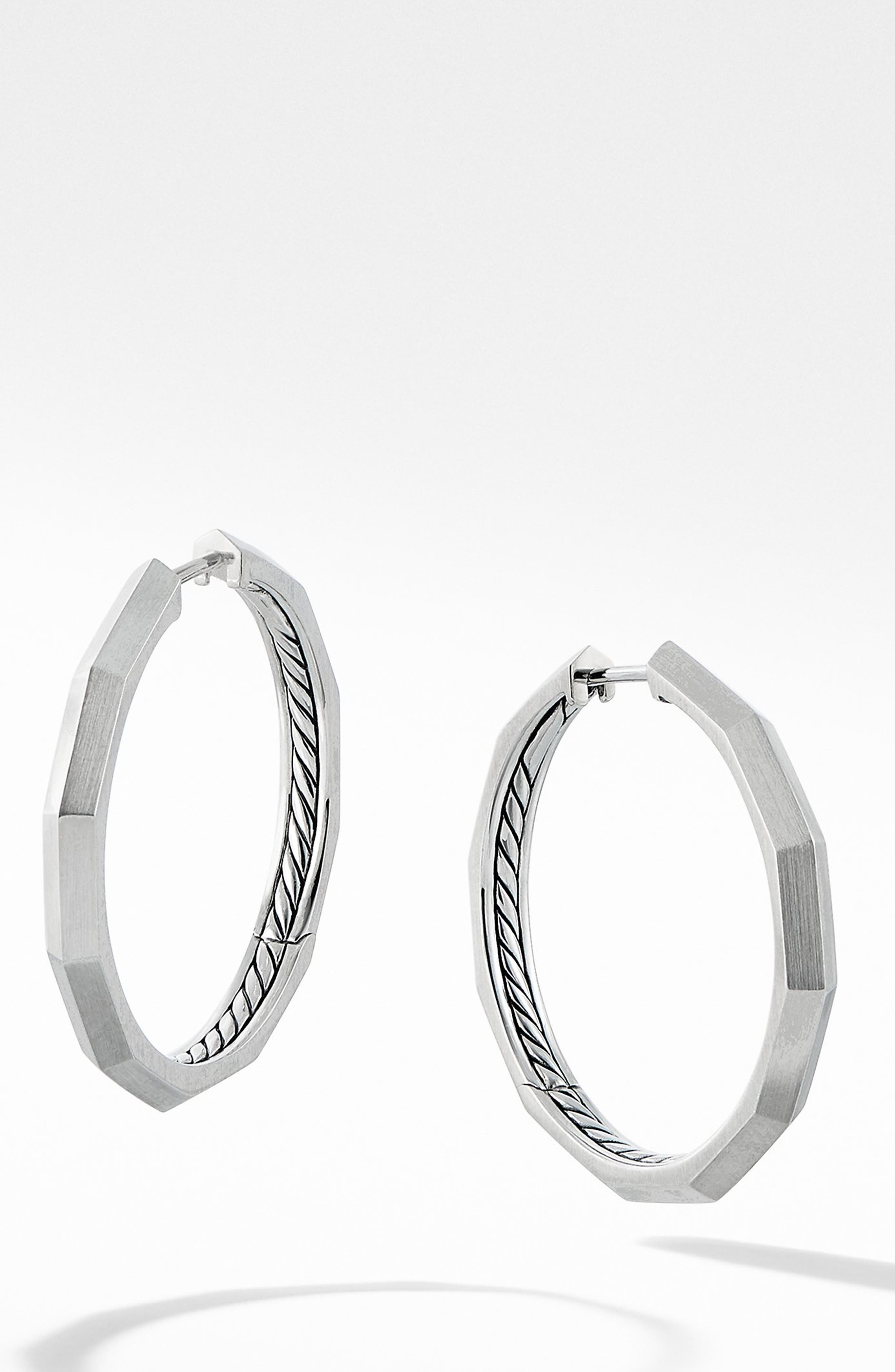 Stax Faceted Hoop Earrings, Main, color, SILVER