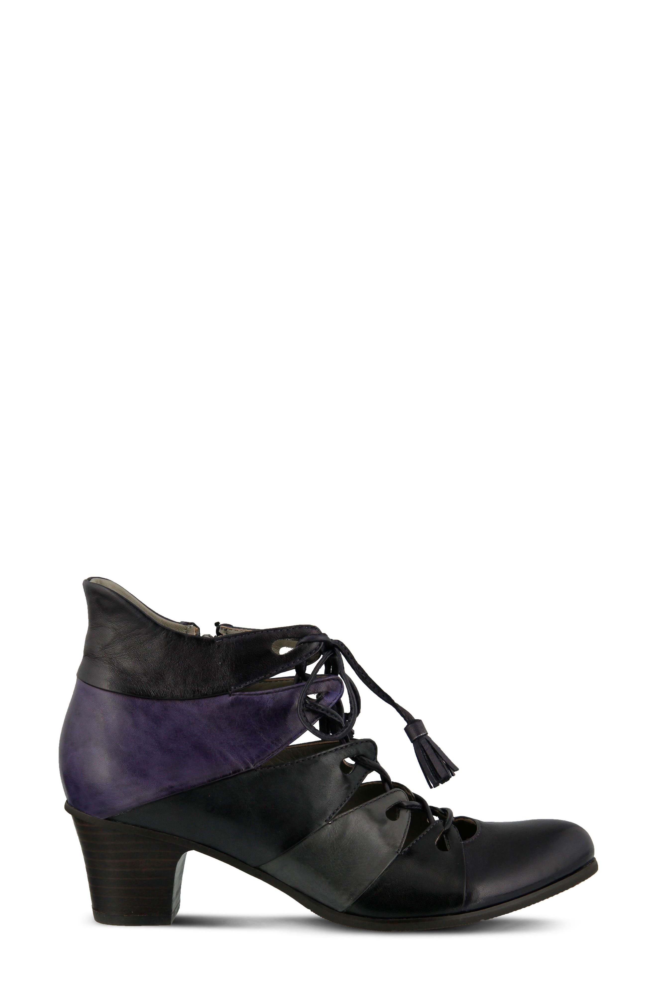 Estrela Ghillie Bootie,                             Alternate thumbnail 3, color,                             PURPLE MULTI LEATHER