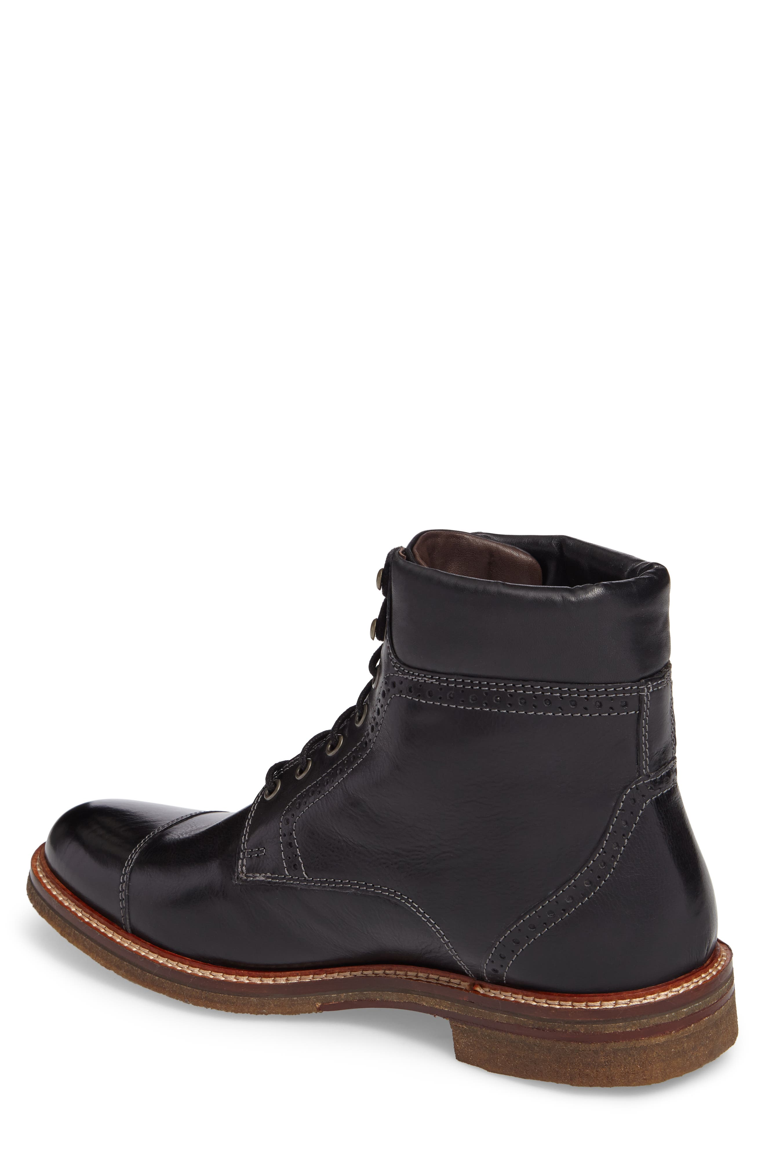 Forrester Cap Toe Boot,                             Alternate thumbnail 2, color,                             BLACK LEATHER