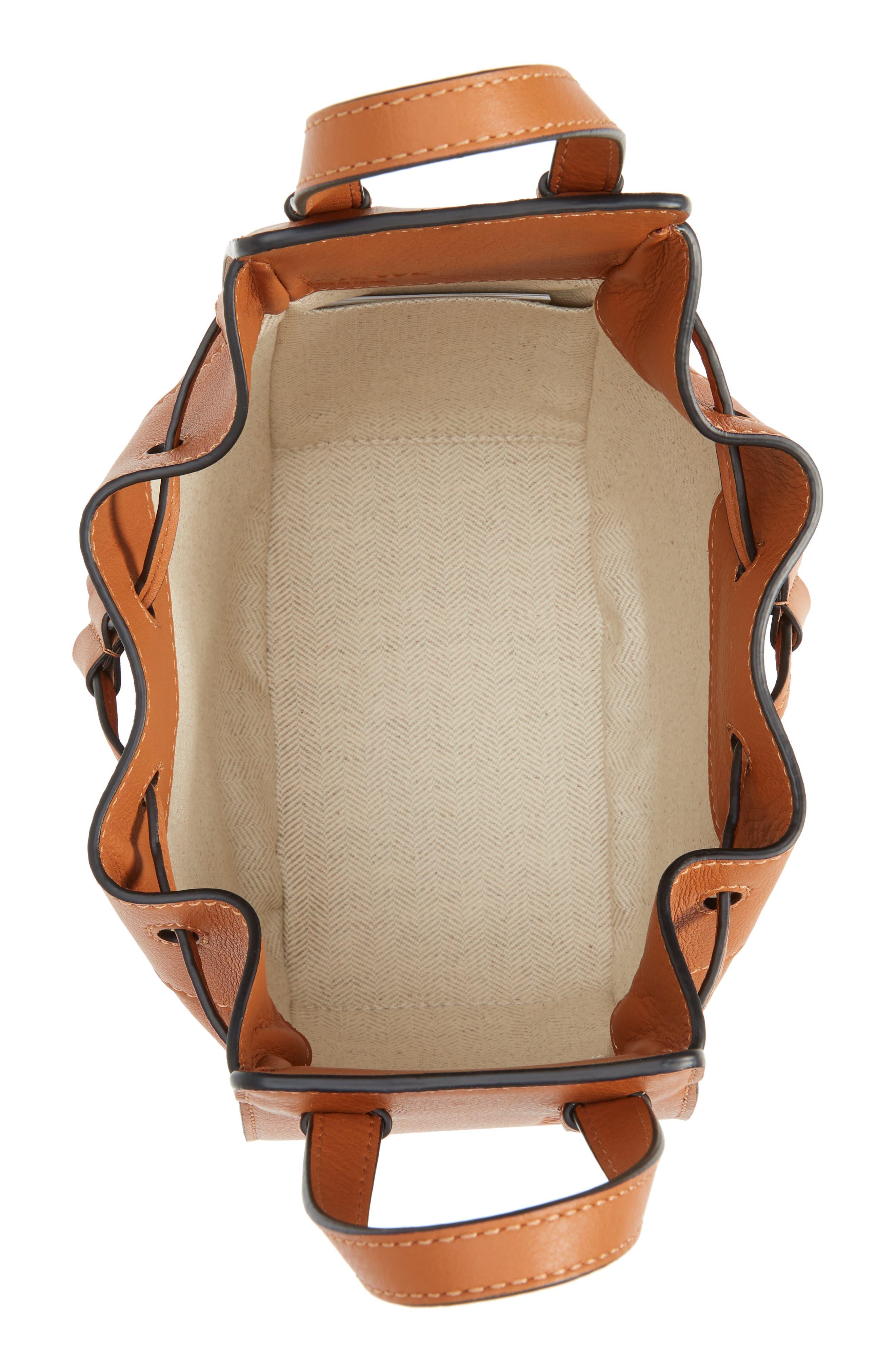 LOEWE,                             Mini Hammock Calfskin Leather Hobo Bag,                             Alternate thumbnail 5, color,                             TAN